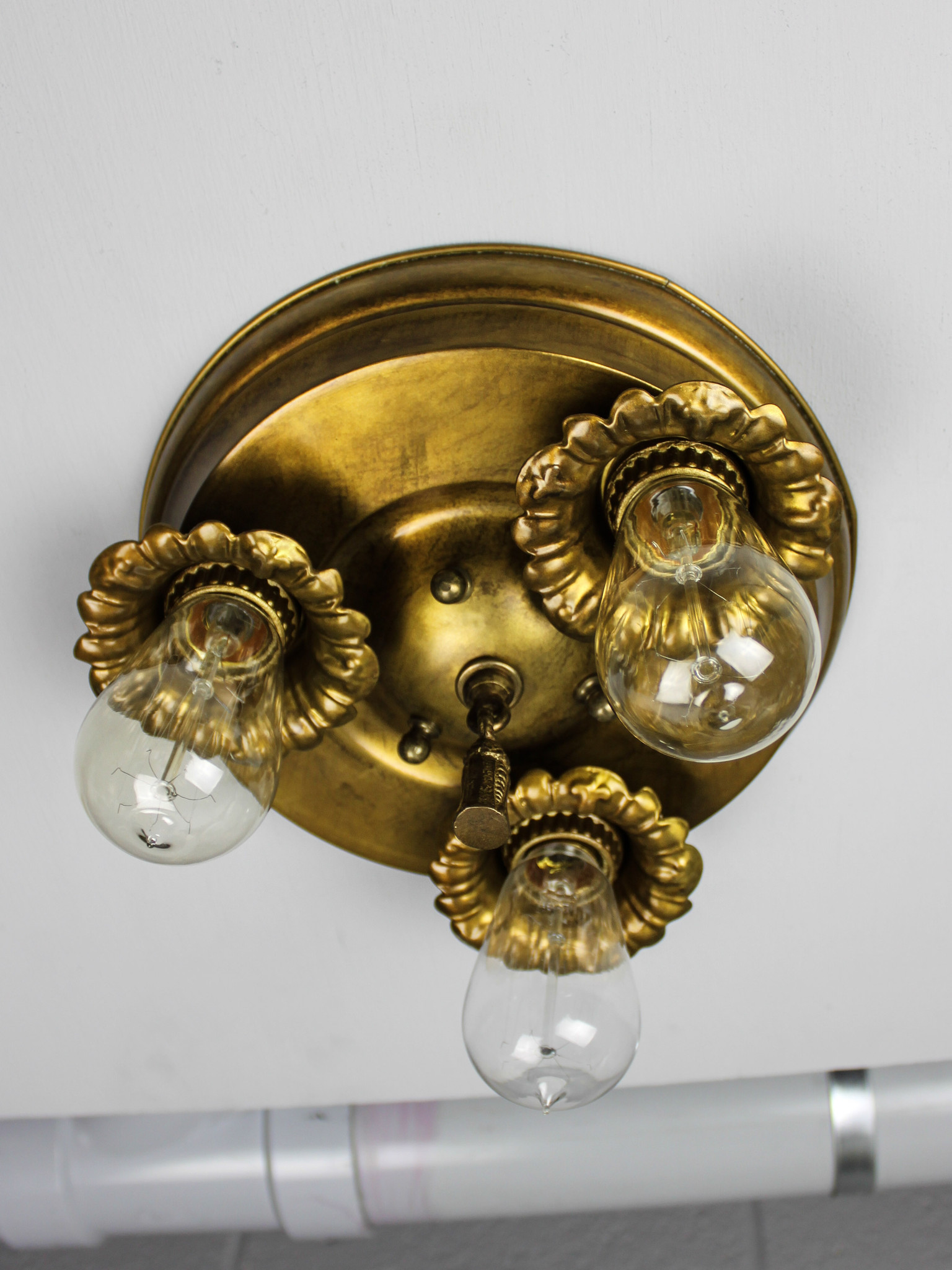 Bare Bulb Flush Mount Light Fixture 3 Light Renew Gallery