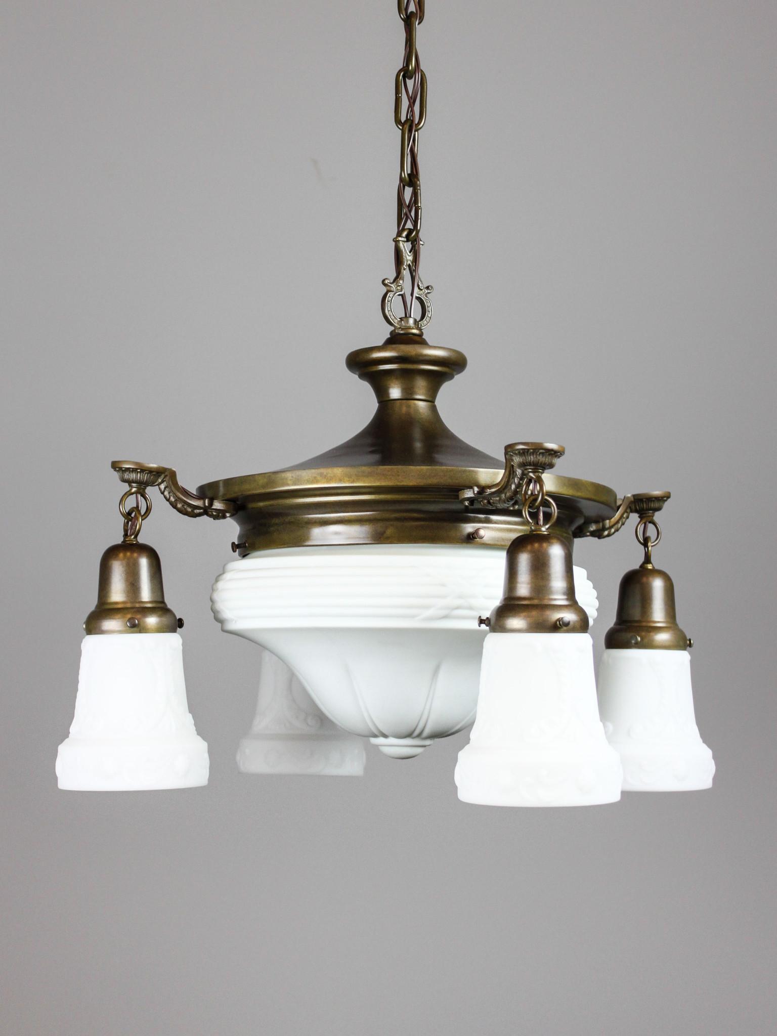 Antique Colonial Revival Pan Light Fixture 4 1 Light