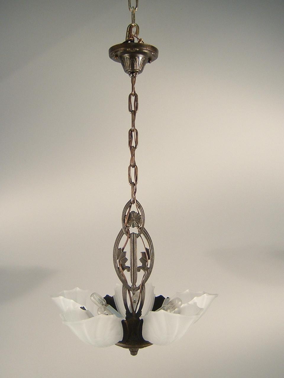Art deco pendant fixture 5 light 3 light renew gallery for Artistic pendant lights