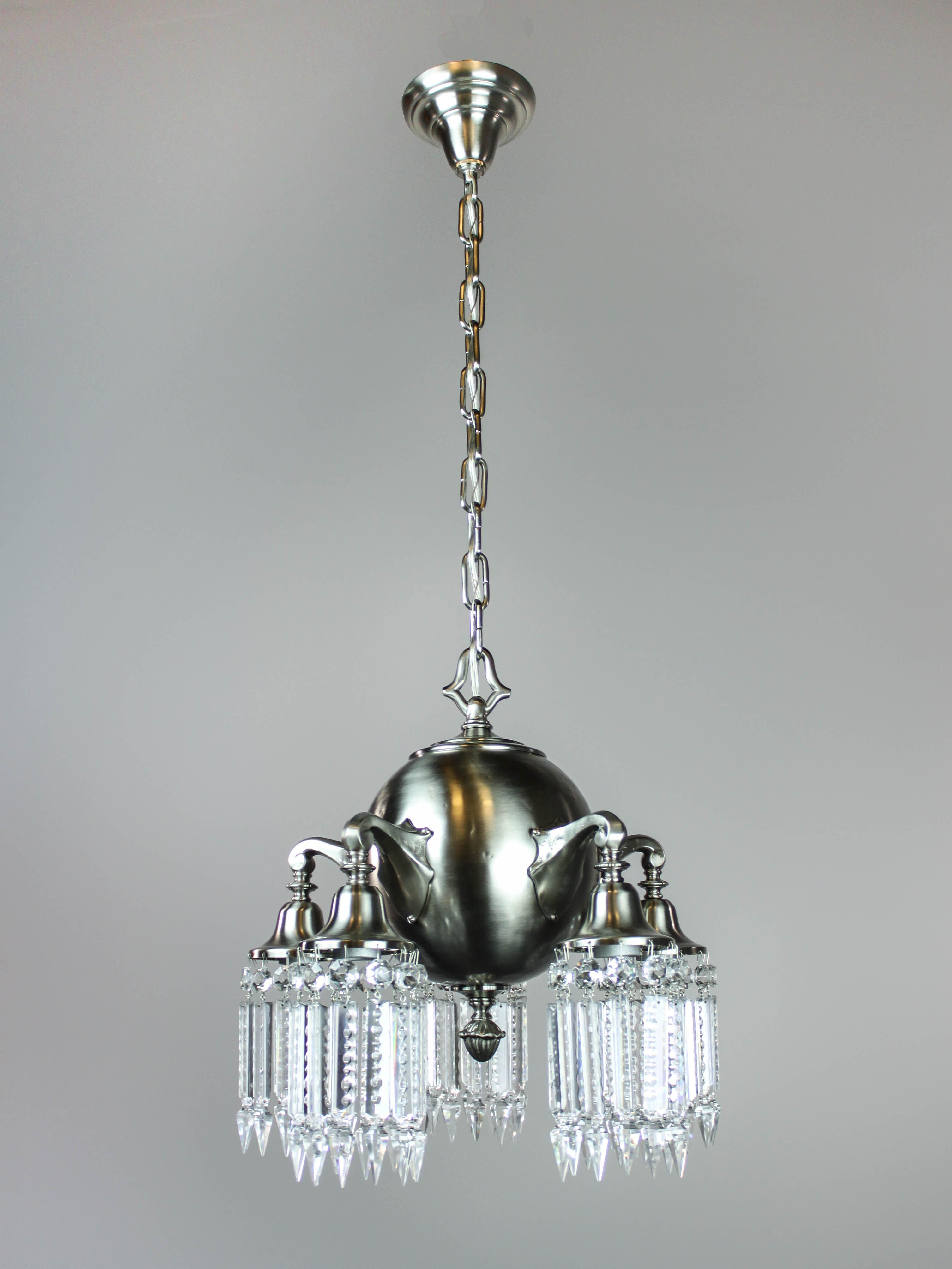 Nickel Plated Brass Crystal Light Fixture 5 Light