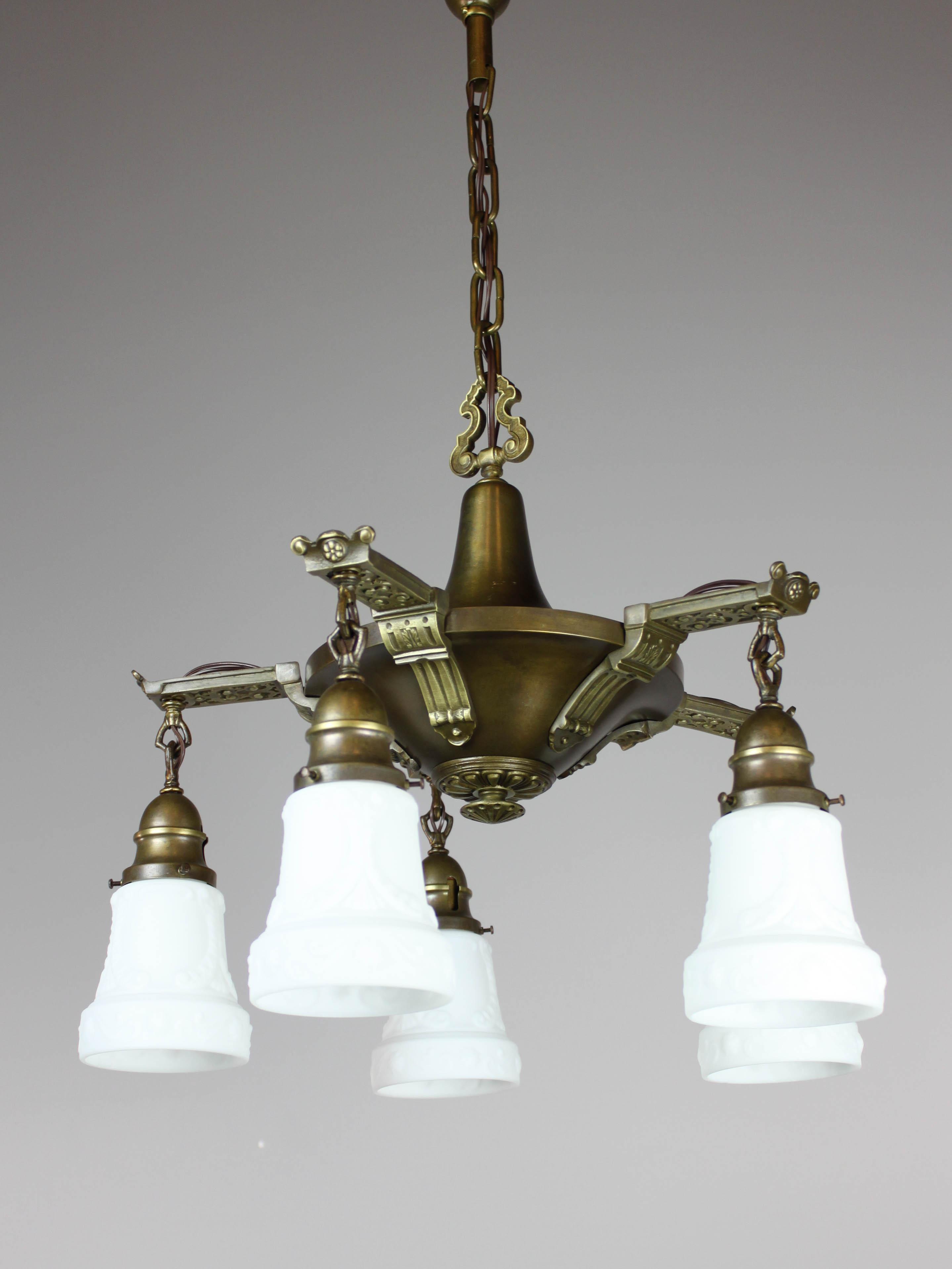 Antique Edwardian Pan Light Fixture 5 Light Renew Gallery