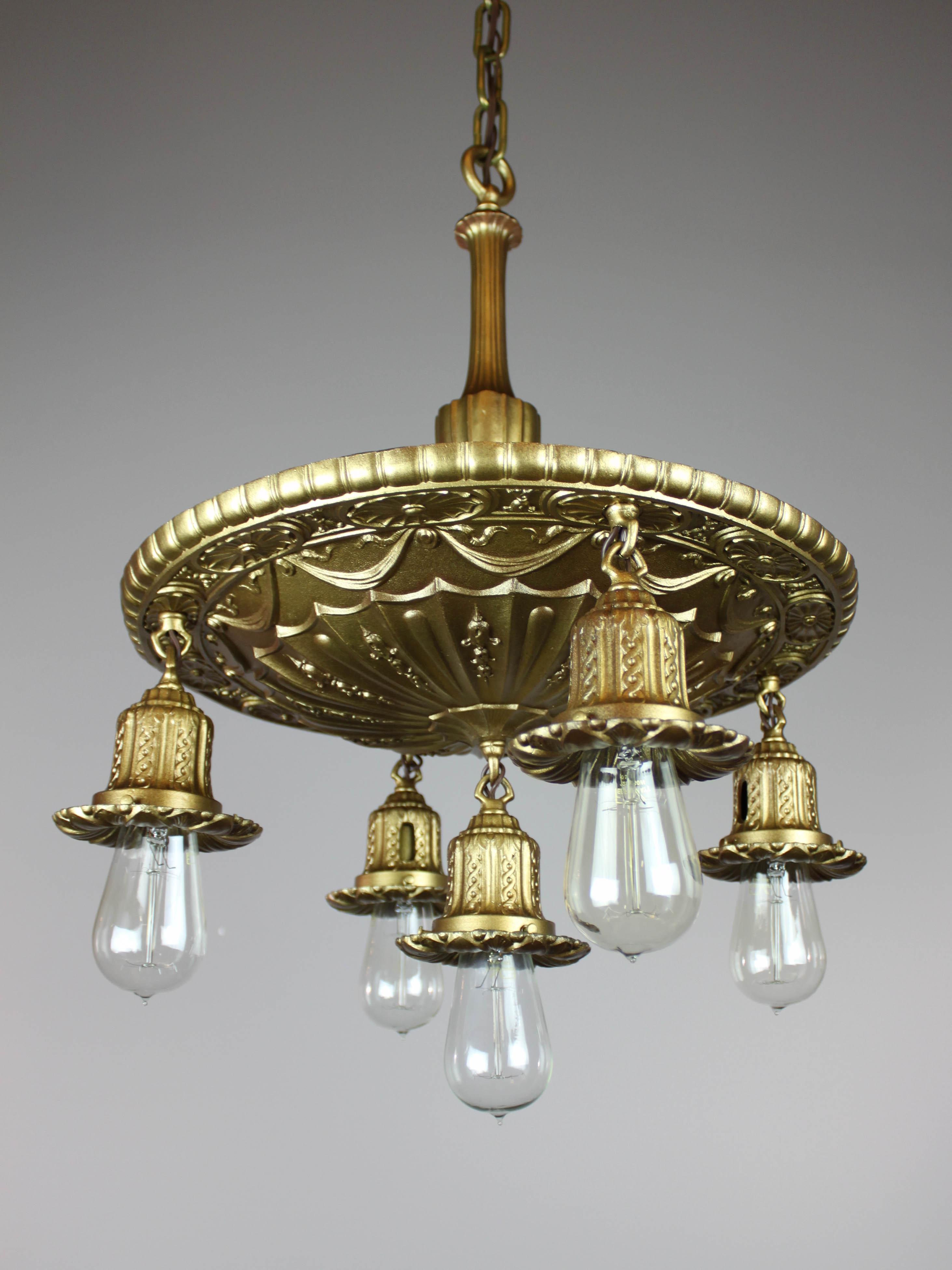 Antique Brass Shower Bare Bulb Light Fixture 5 Light
