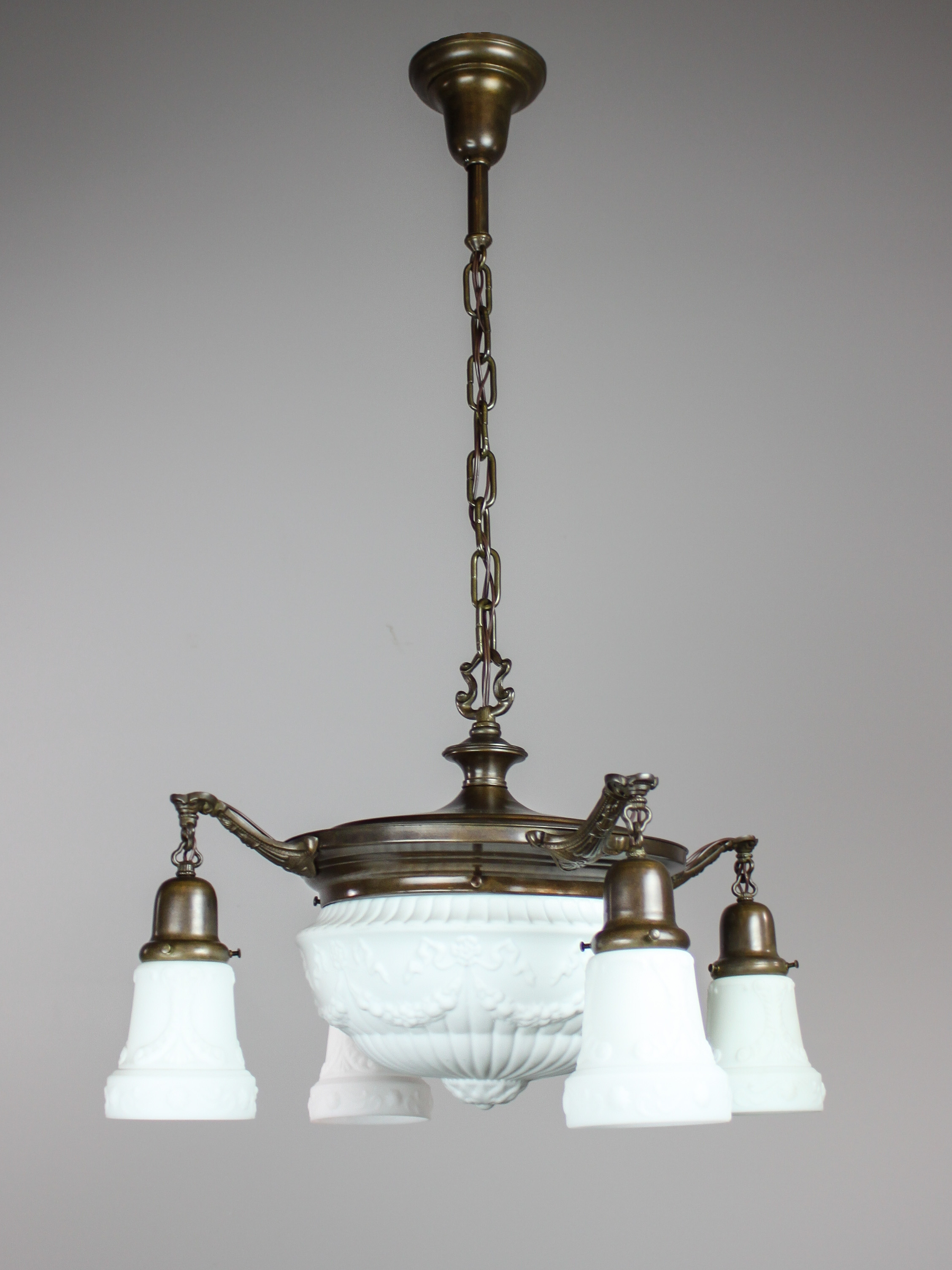 Antique pan light fixture with milk glass 4 1 light for Antique pendant light fixtures