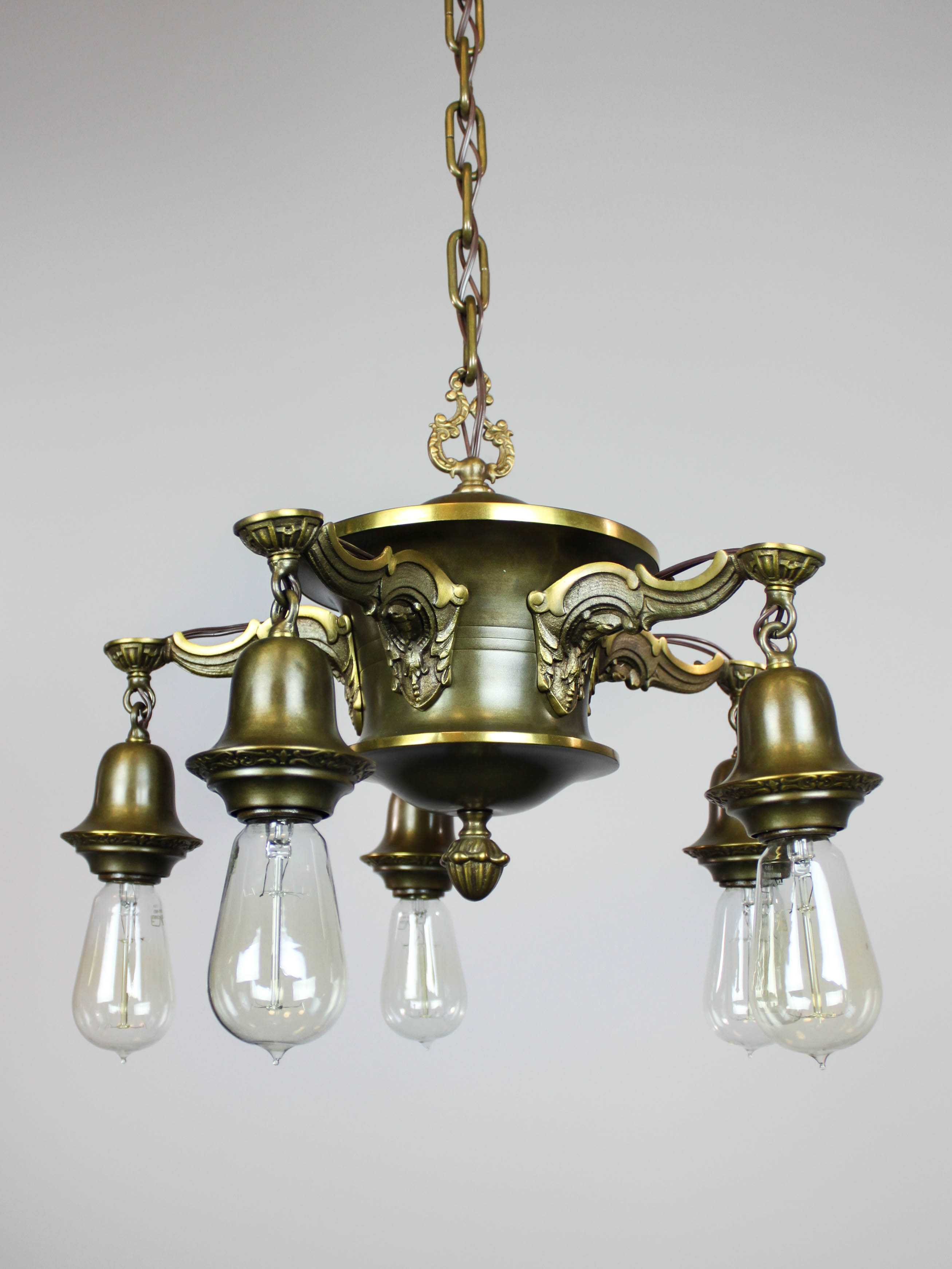 Antique Colonial Revival Pan Light Fixture 5 Light