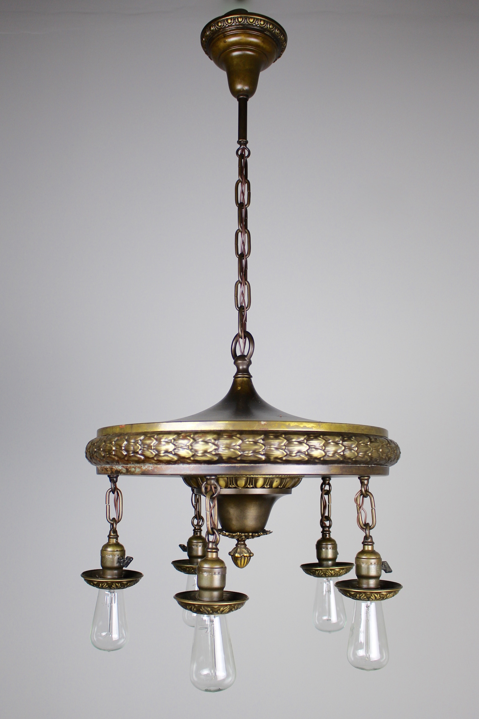 1920s Five-Light Neoclassical Revival Dining Room Fixture