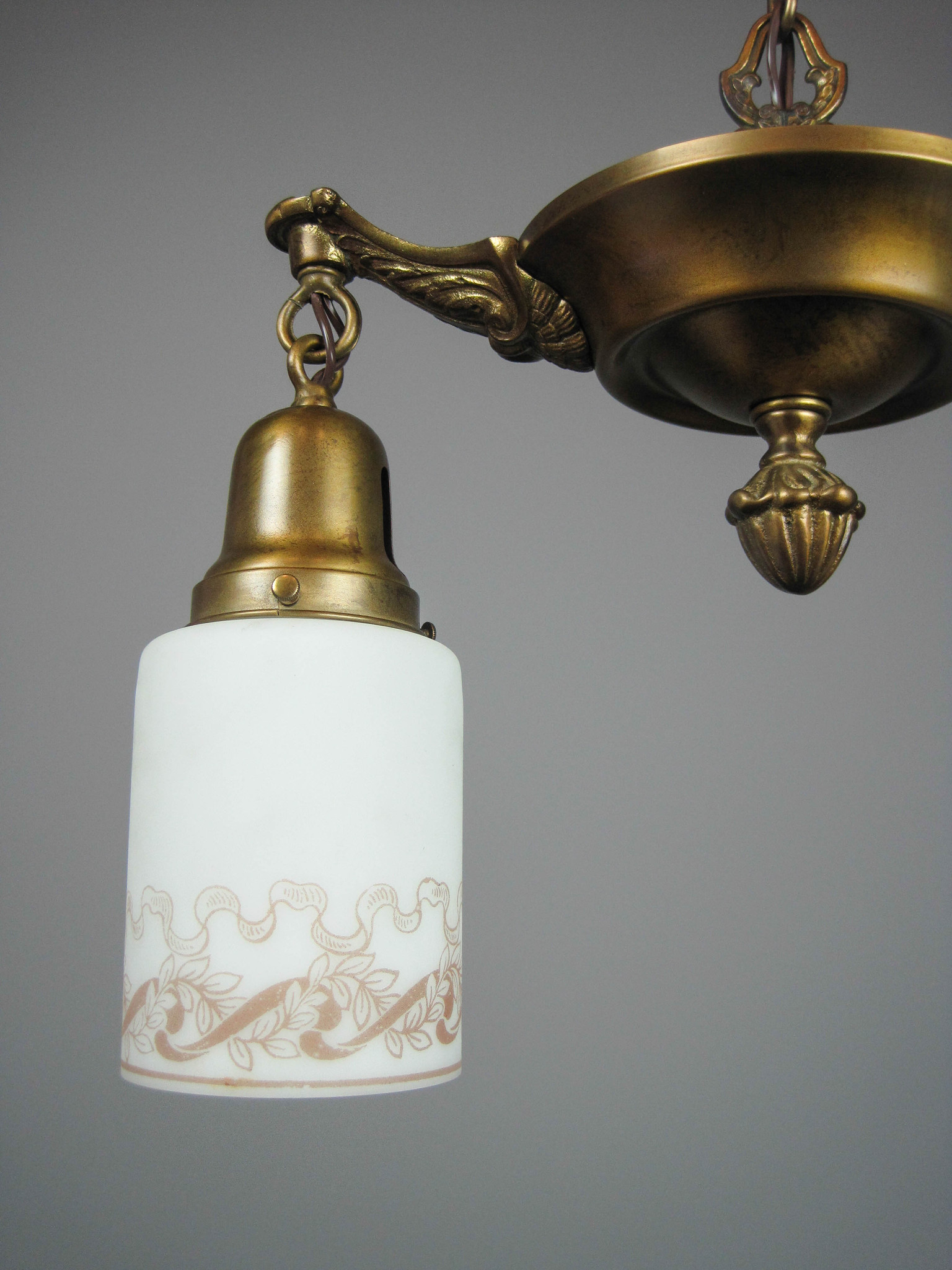 Original Pan Light Fixture With Antique Shades 2 Light