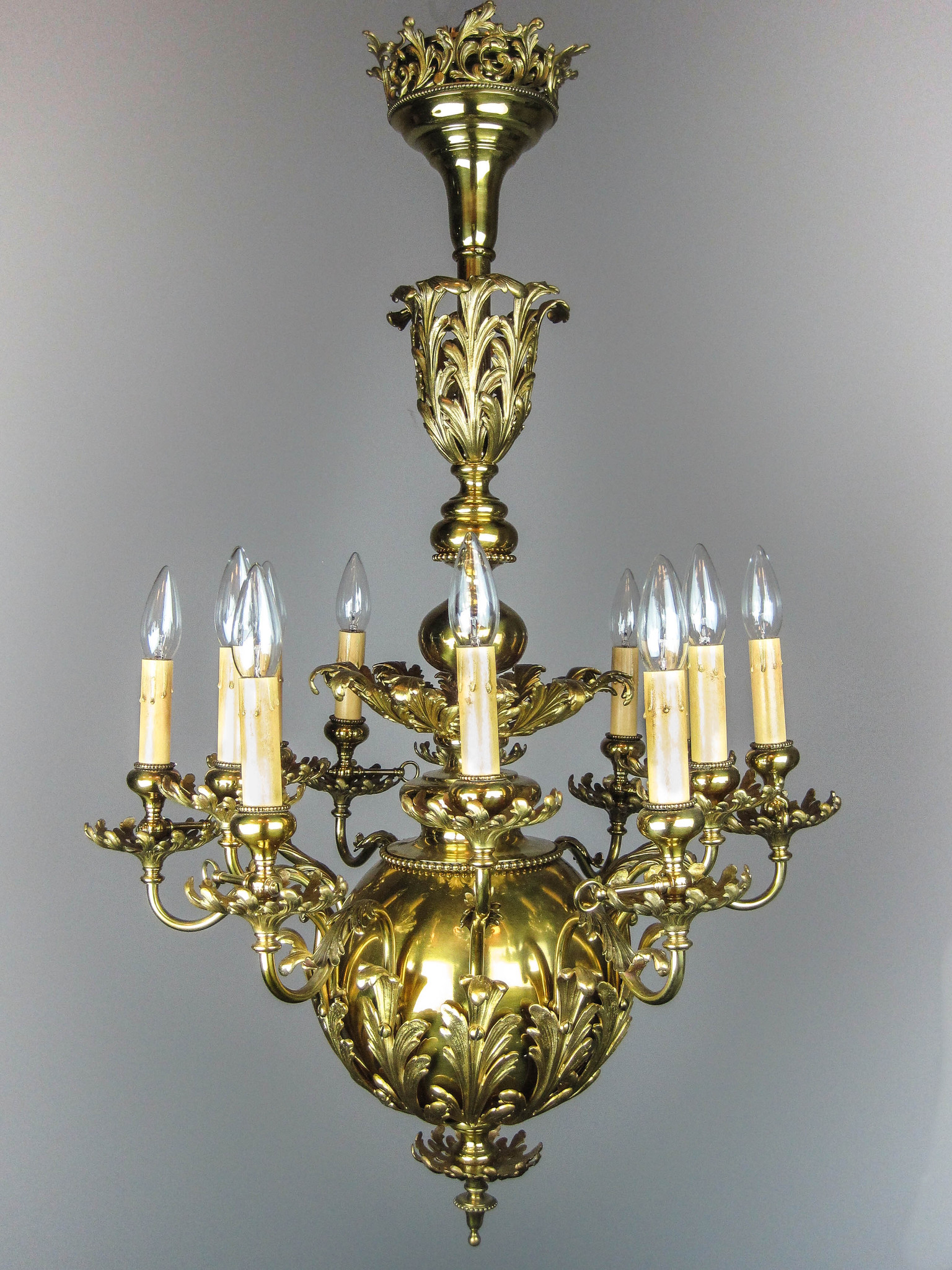 "GIBSON"" Louis XV Brass Chandelier 12 Light"