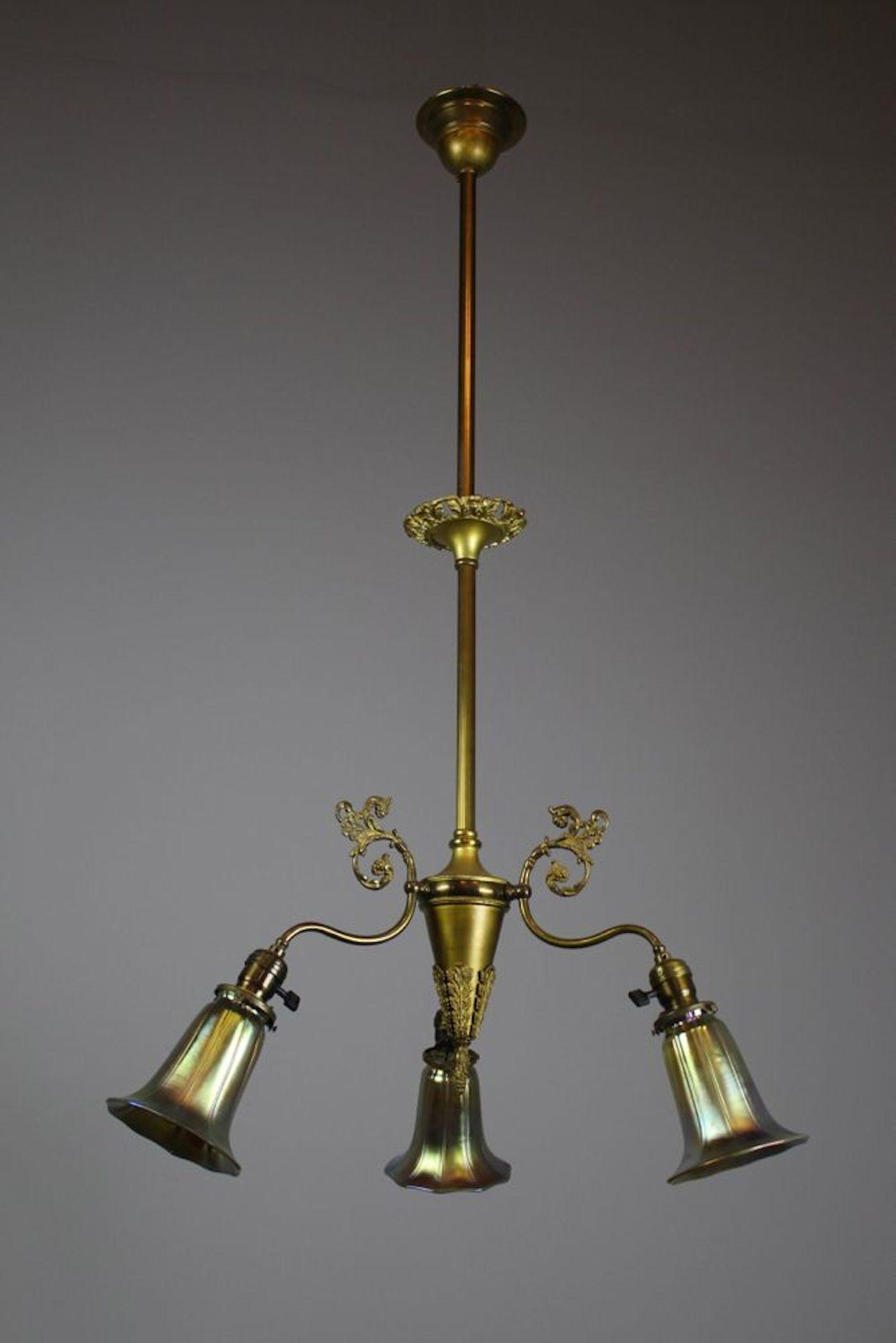 Victorian Brass Light Fixture 3 Light