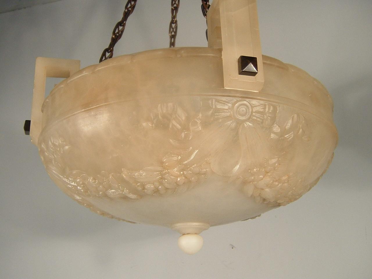 Beardslee Carved Alabaster Bowl Light Fixture