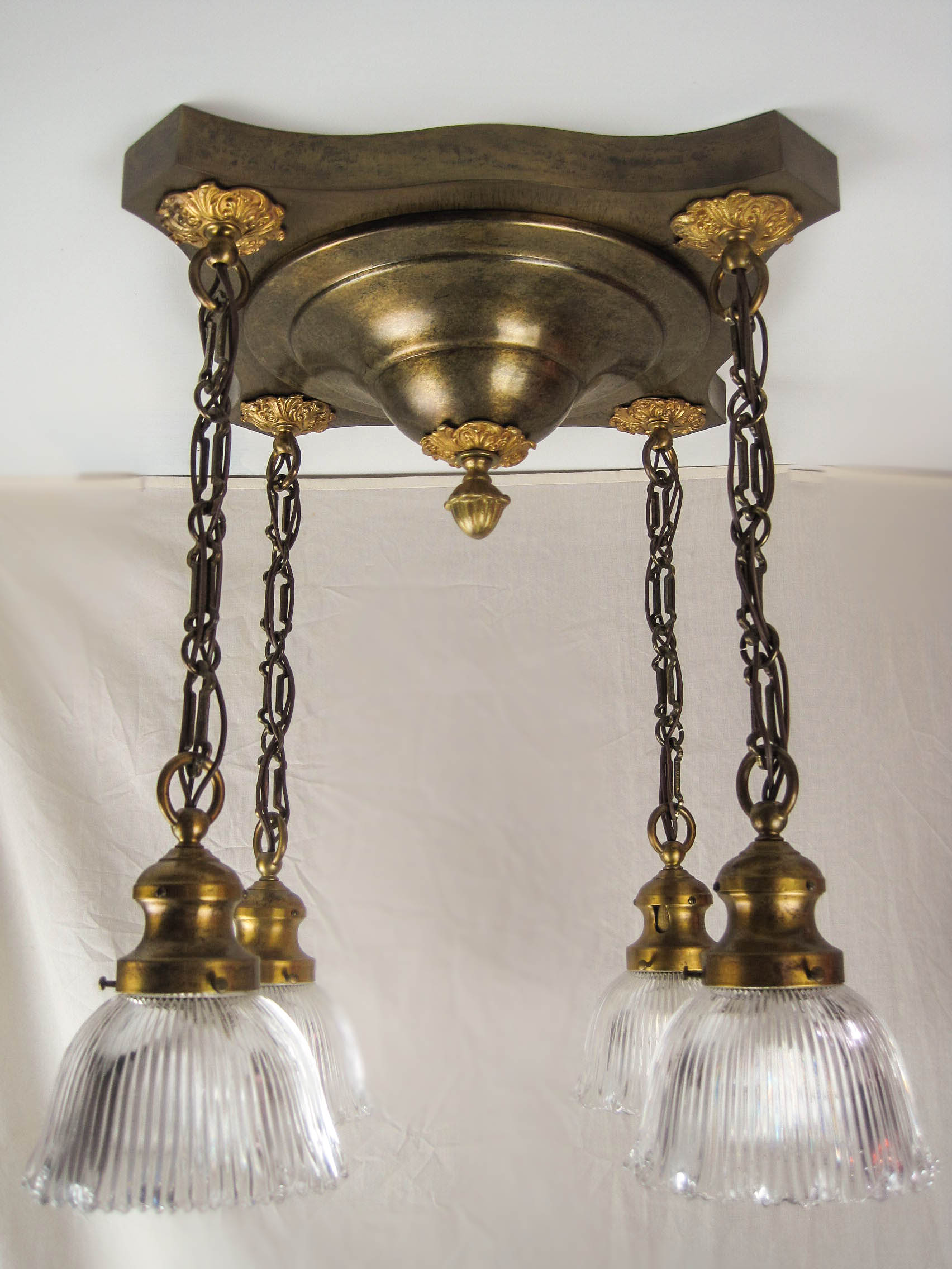 Edwardian Flush Mount Light Fixture 4 Light
