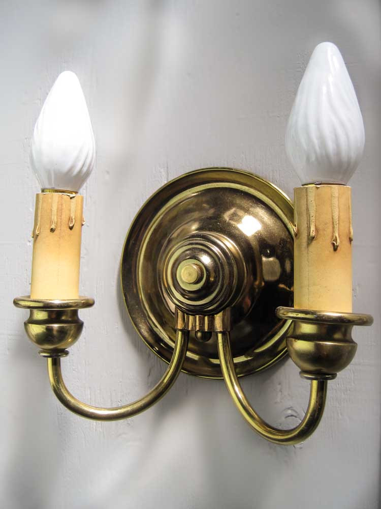 Brass Plated Double Arm Sconce (Single)