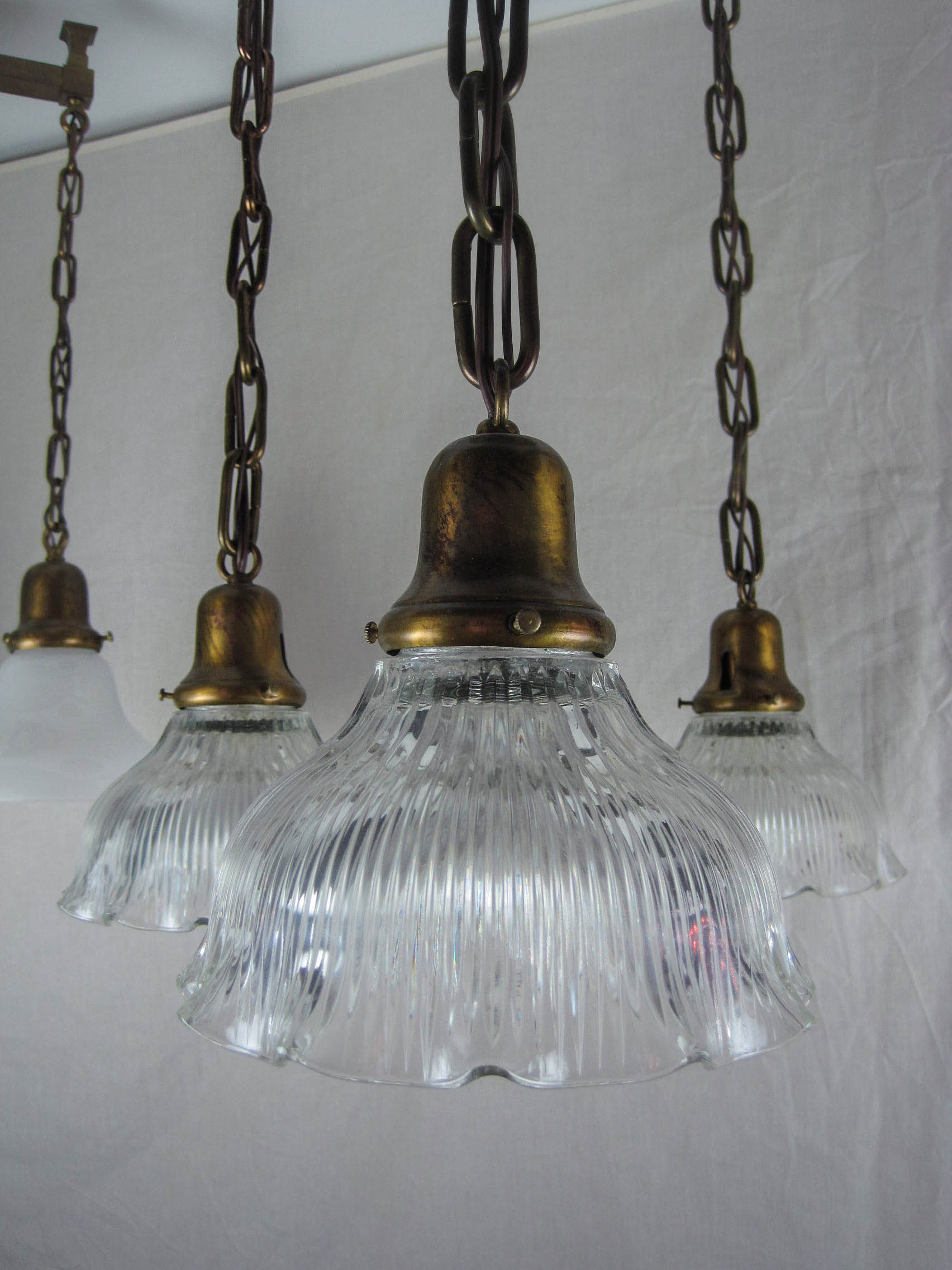 Edwardian Holophane Flush Mount Light Fixture 4 Light