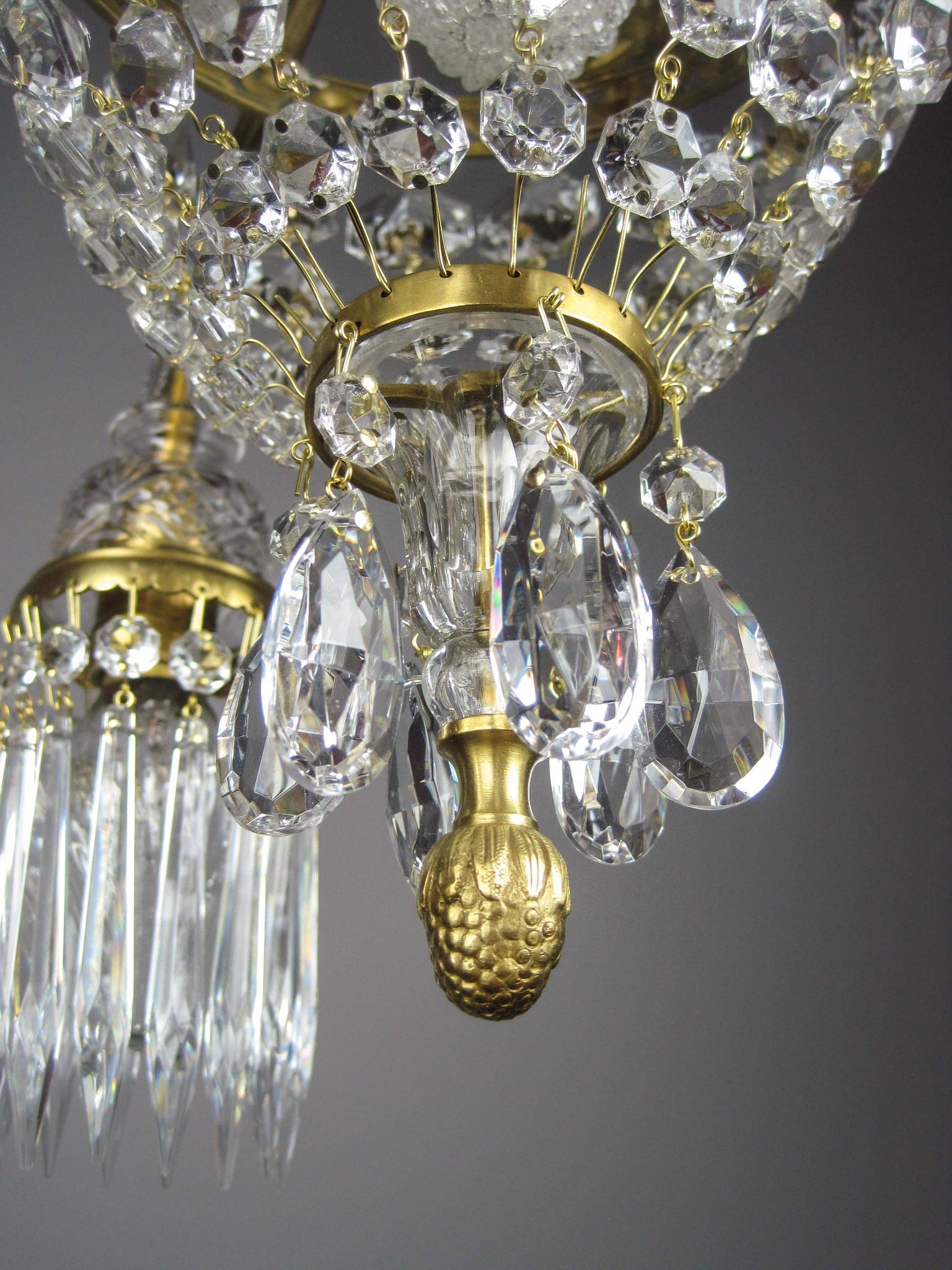 French Empire Crystal Basket Light Fixture Sword Motif 4