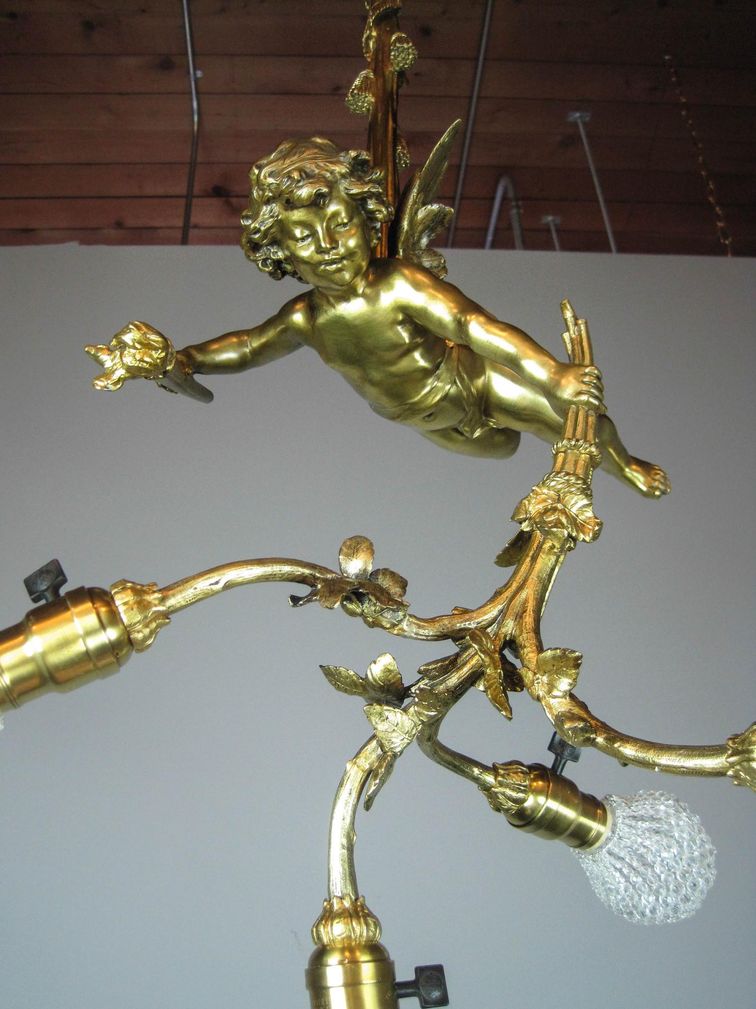 Golden Cherub Figural Light Fixture 4 Light