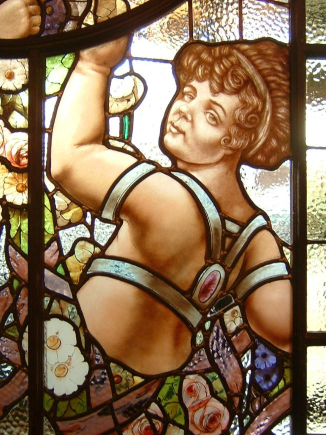 Stained Glass Window With Cherub Floral Painting