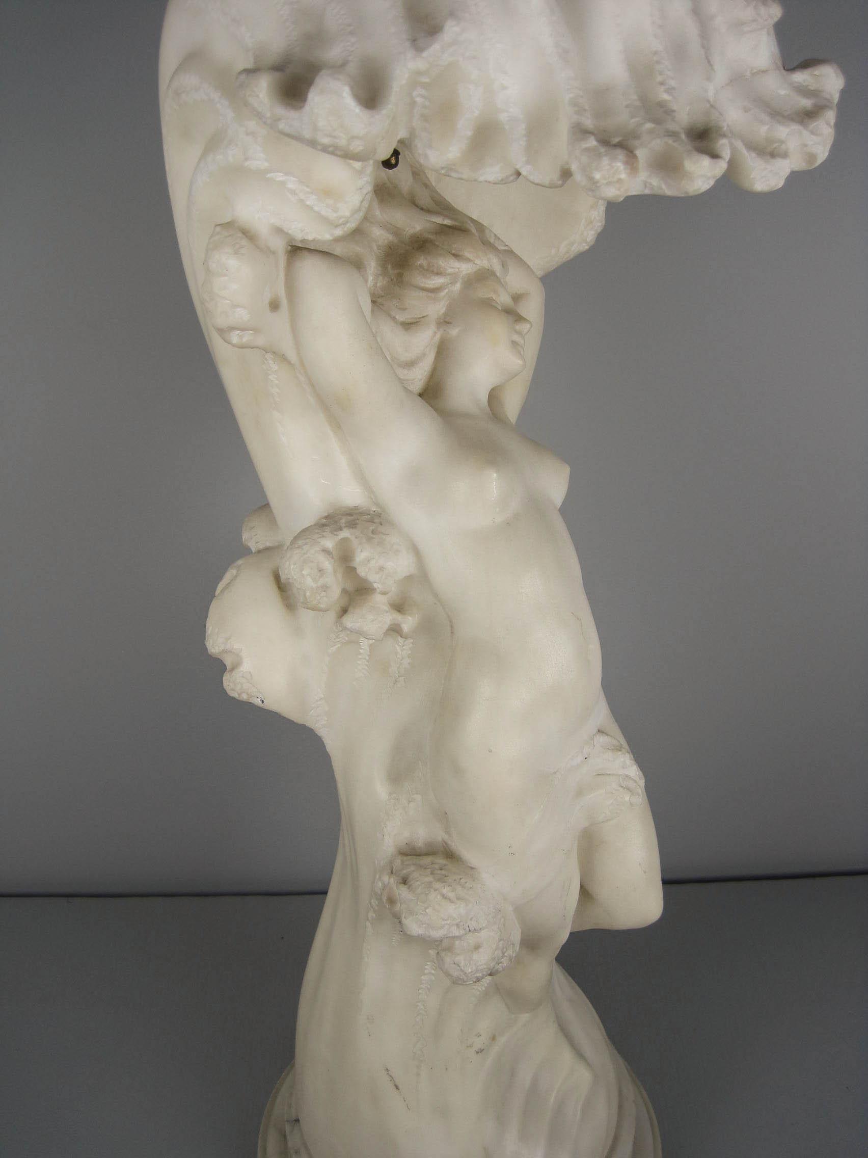 O Rossi Italian Alabaster Figural Lamp