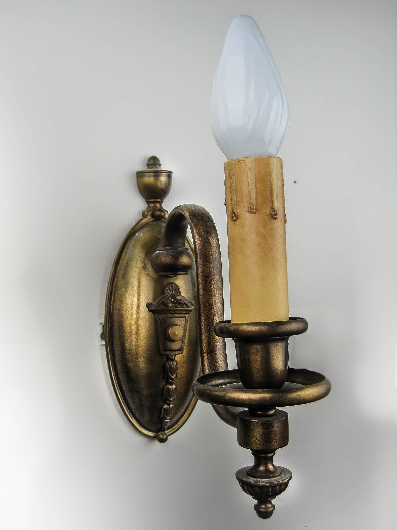 Pair Electric Wall Sconces : Edwardian Electric Candle Sconces (Pair)