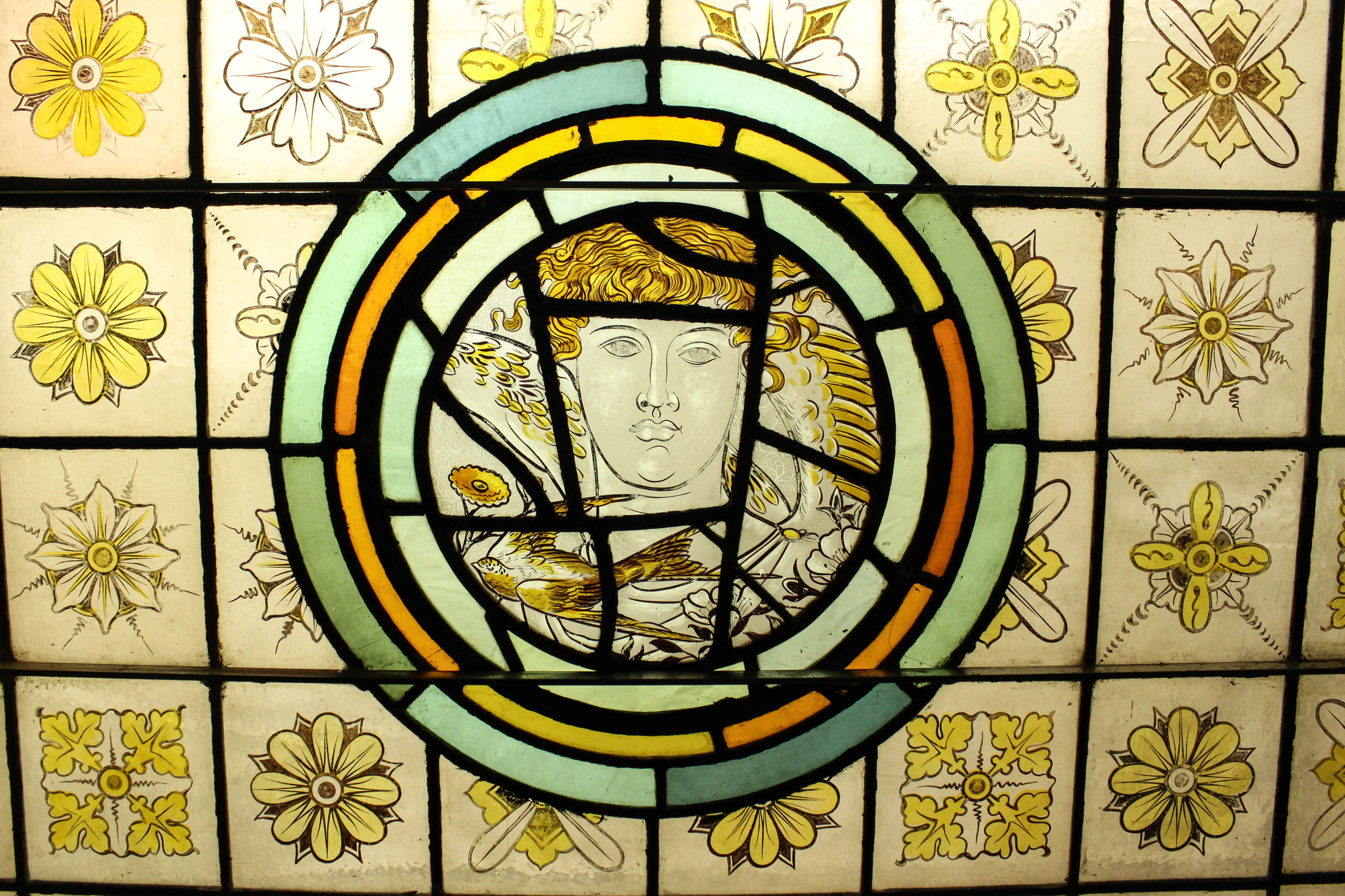 Mosaic Painted Stained Glass Window |
