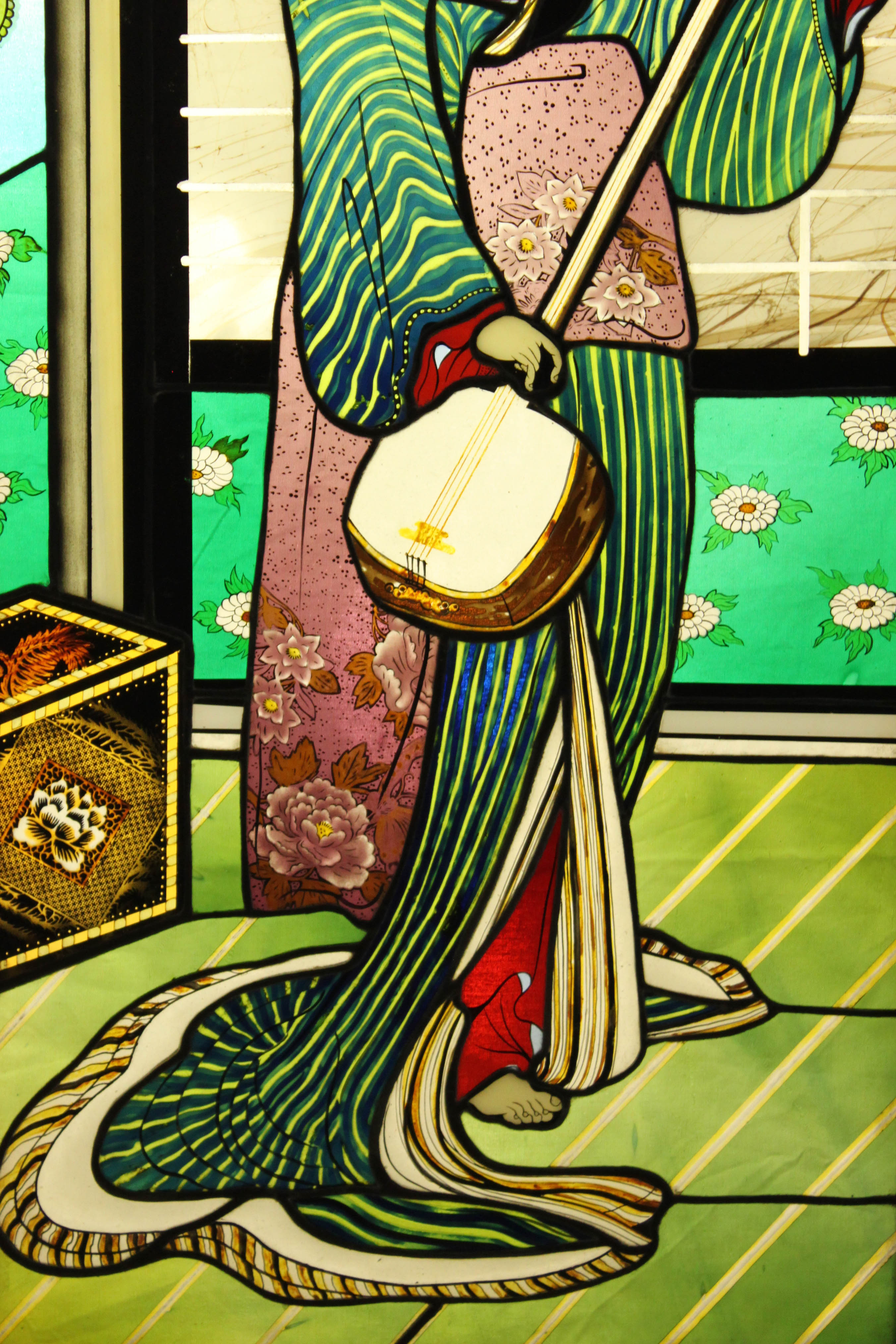 Asian Inspired Hand Painted And Etched Stained Glass Window