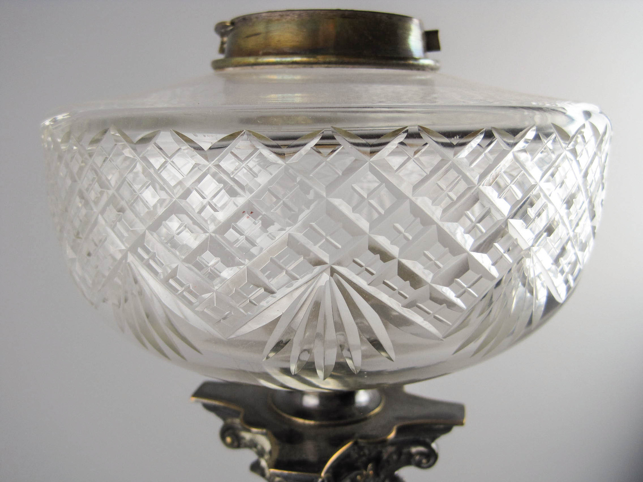 "MESSENGER'S"" Crystal and Brass Corinthian Oil Lamp 