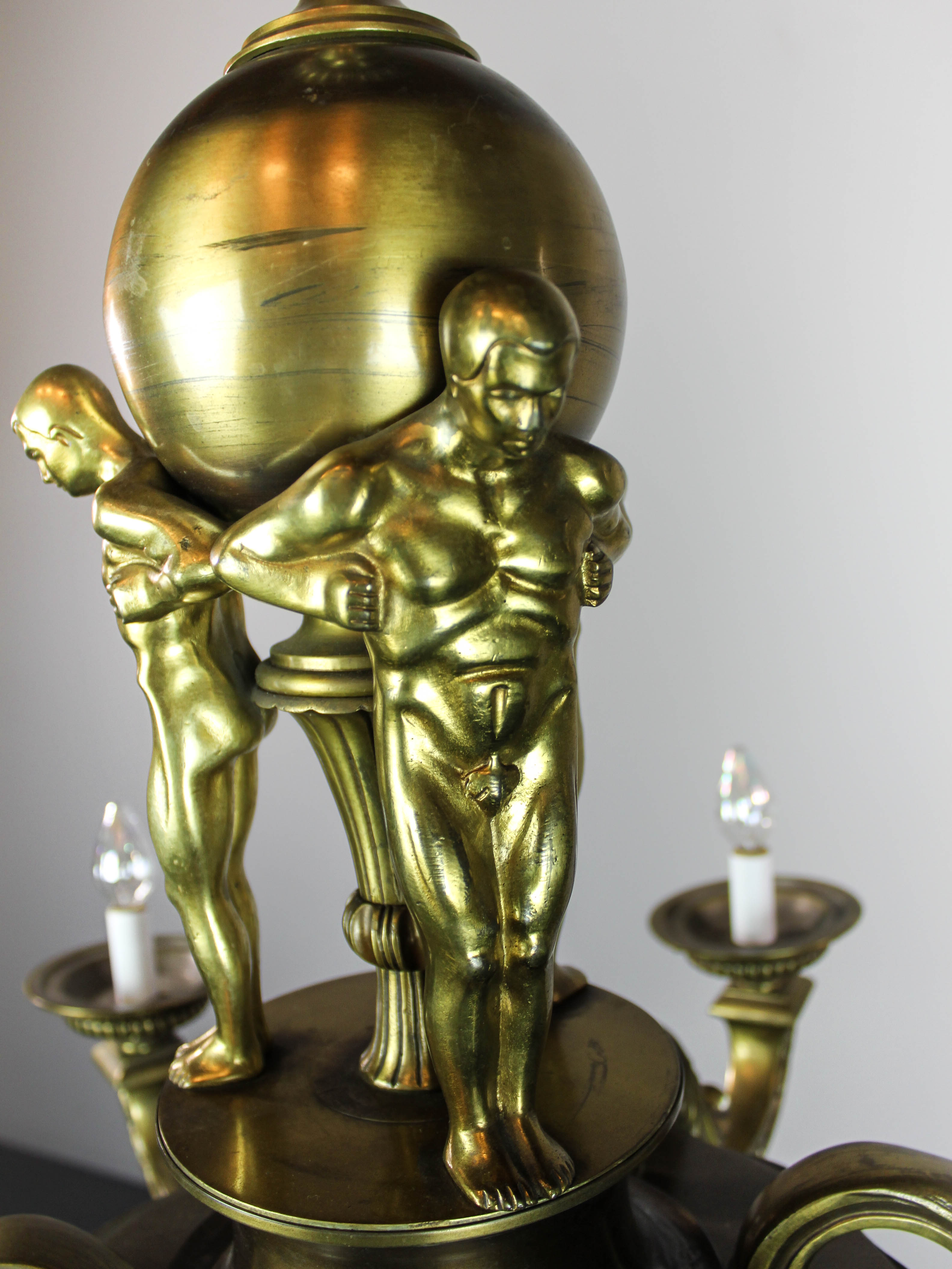 Monumental Beaux Arts Figural Chandelier 6 Light