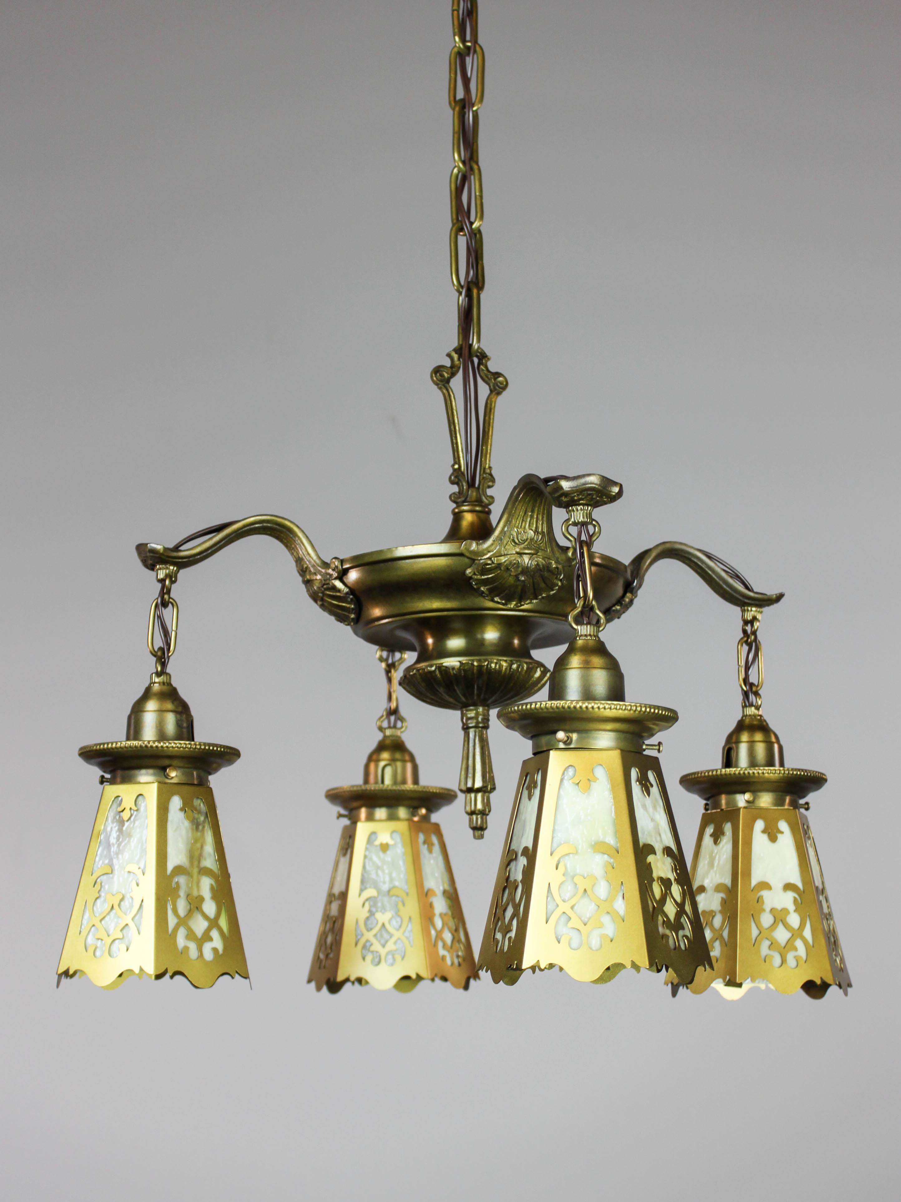 Antique Colonial Revival Pan Light Fixture 4