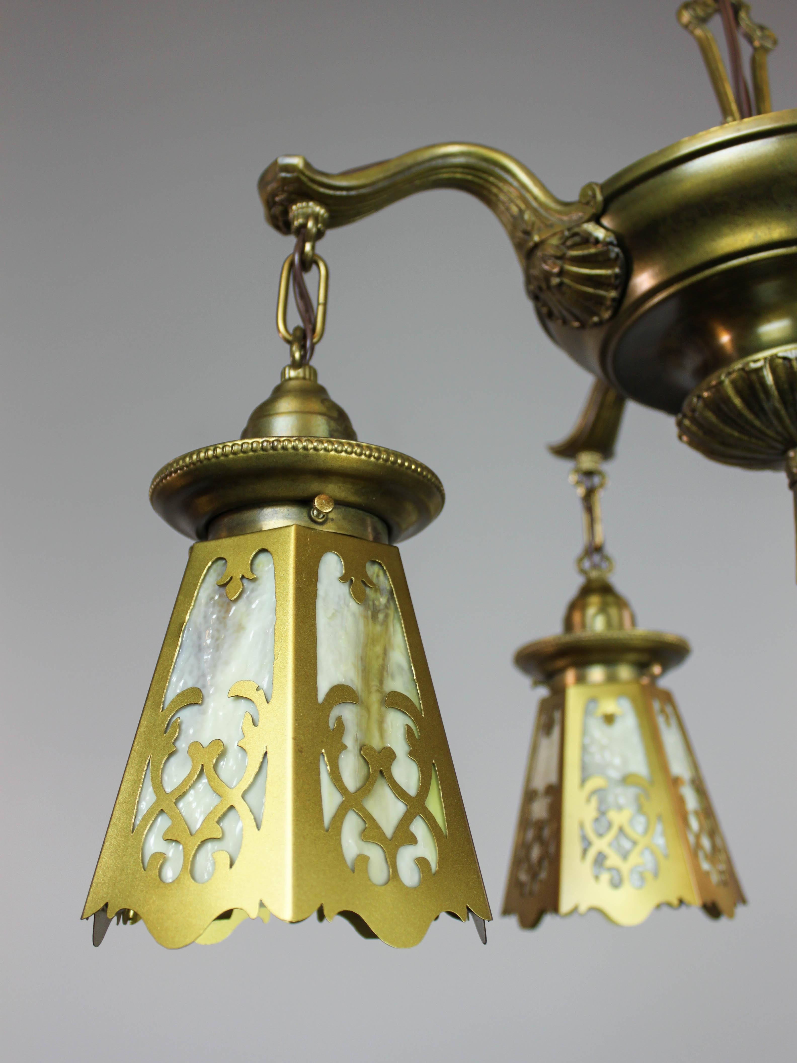 Antique Colonial Revival Pan Light Fixture 4 Light
