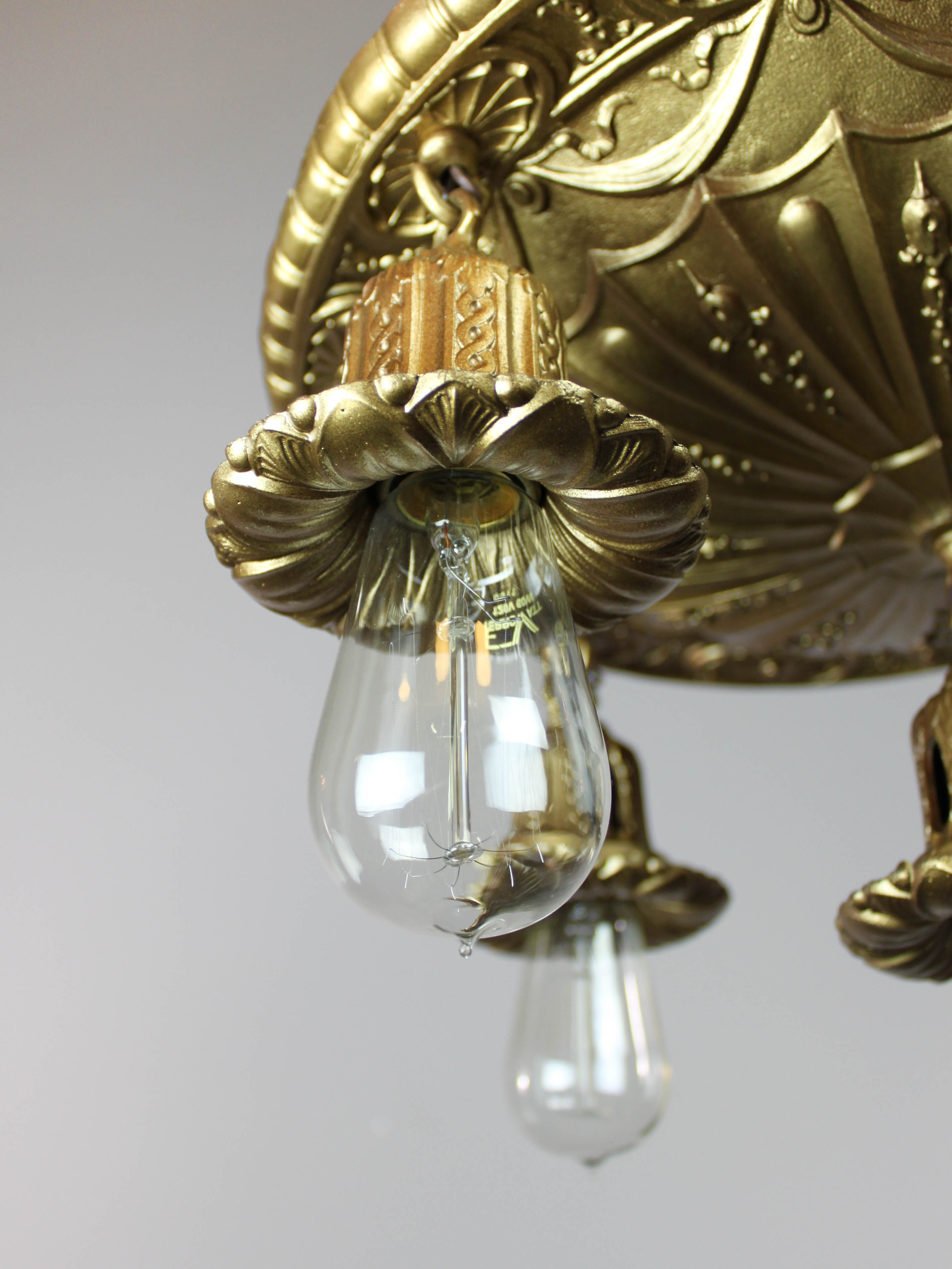 Antique Brass Shower Bare-Bulb Light Fixture (5-Light) |