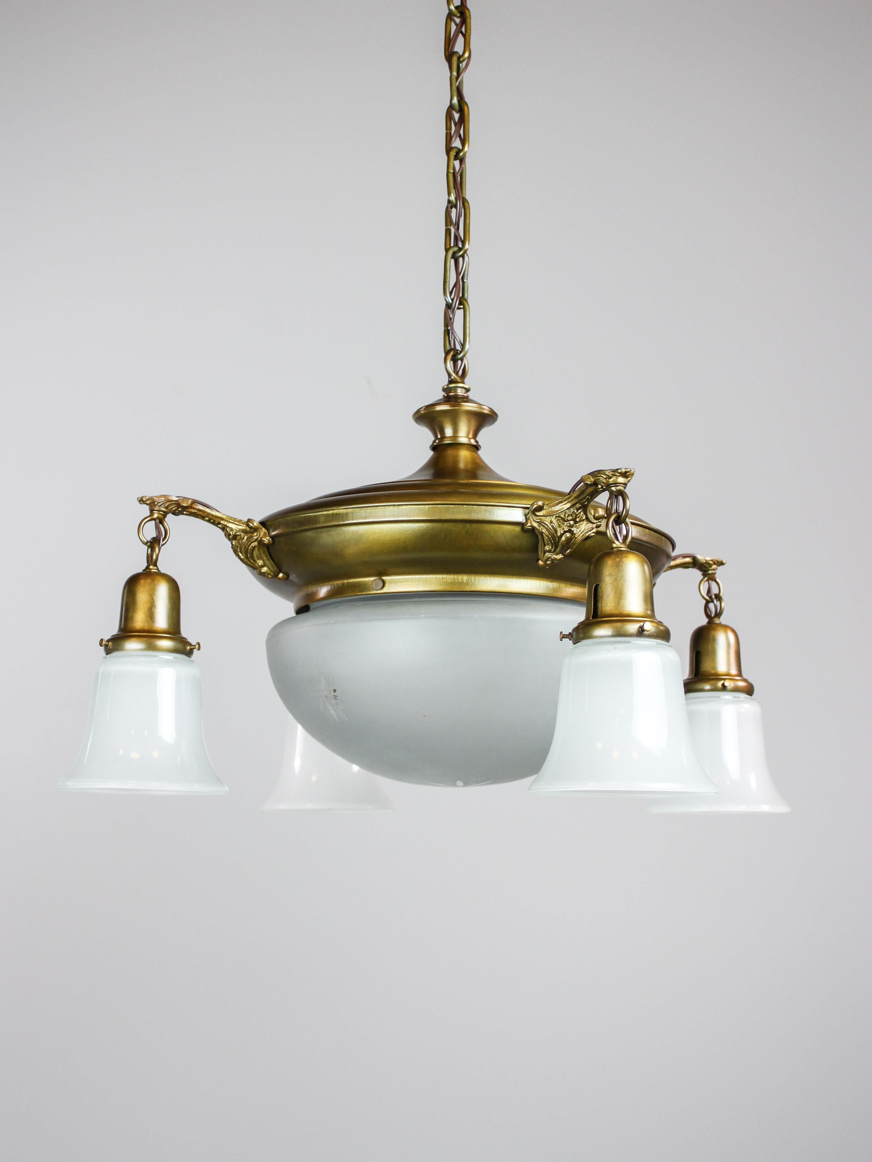 Original Etched Glass Pan Light Fixture 4 1 Light