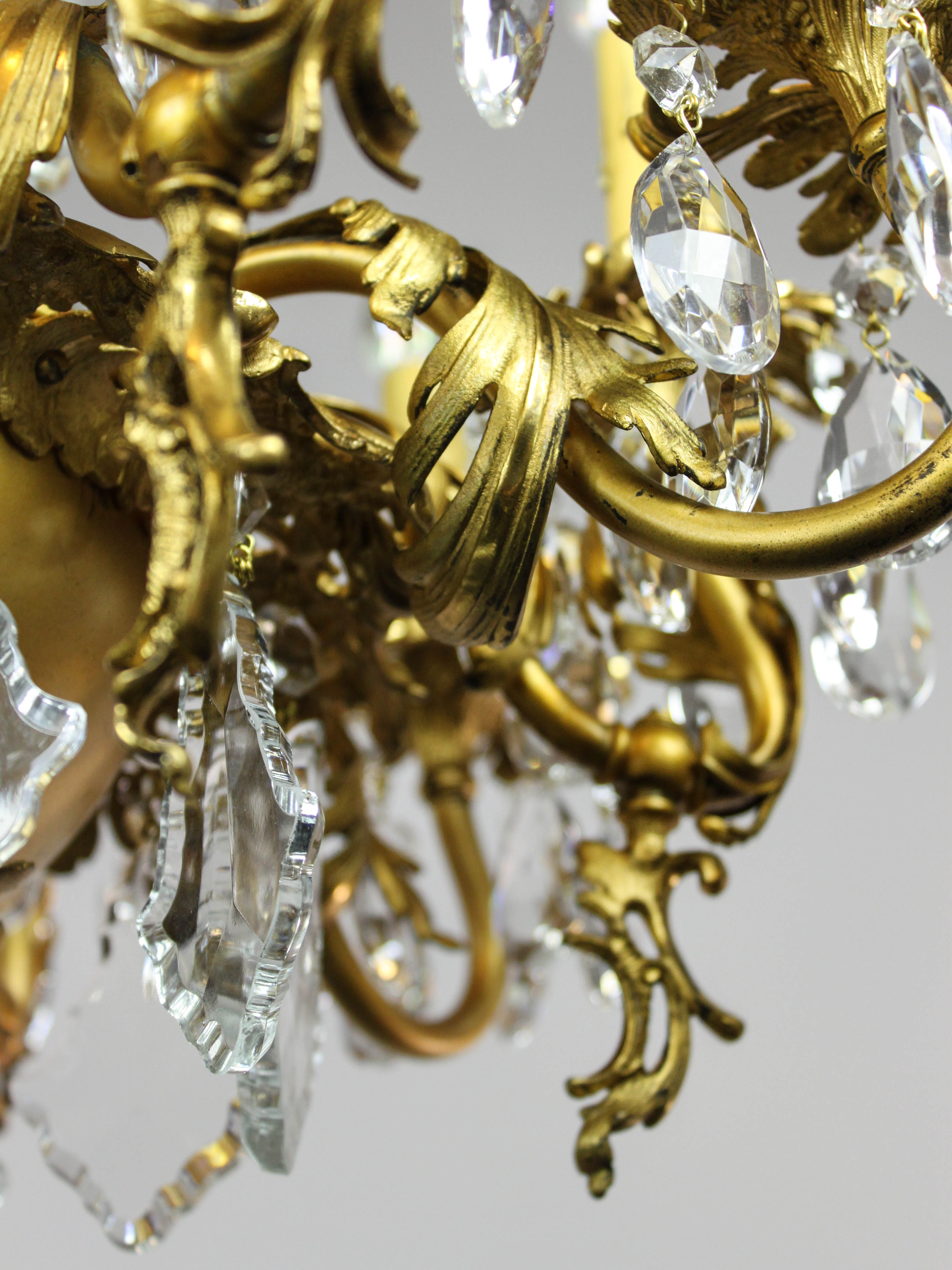 Gold Plated Rococo Converted Gas Chandelier 10 Light