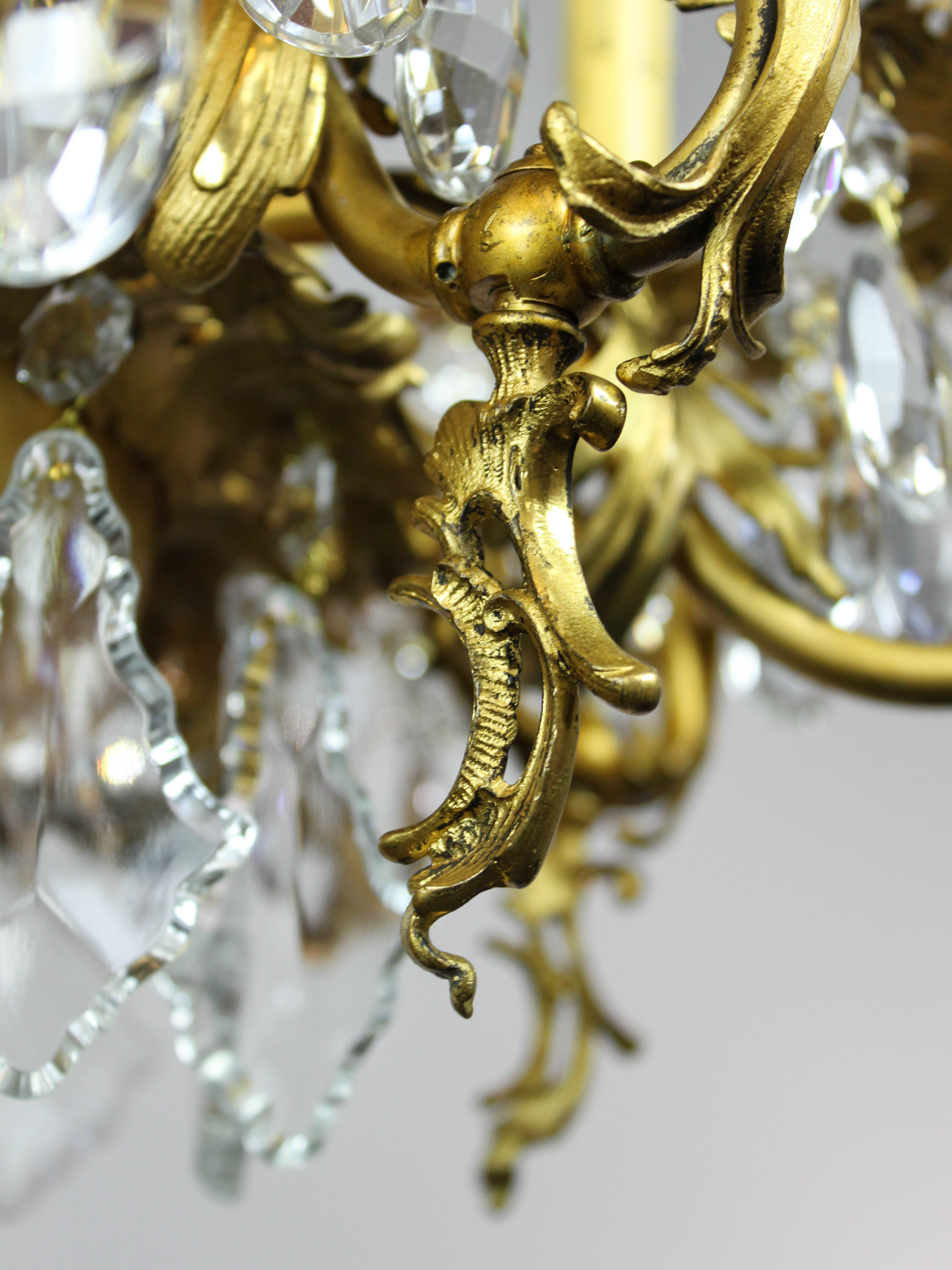 Gold plated rococo converted gas chandelier 10 light tags brass arubaitofo Image collections