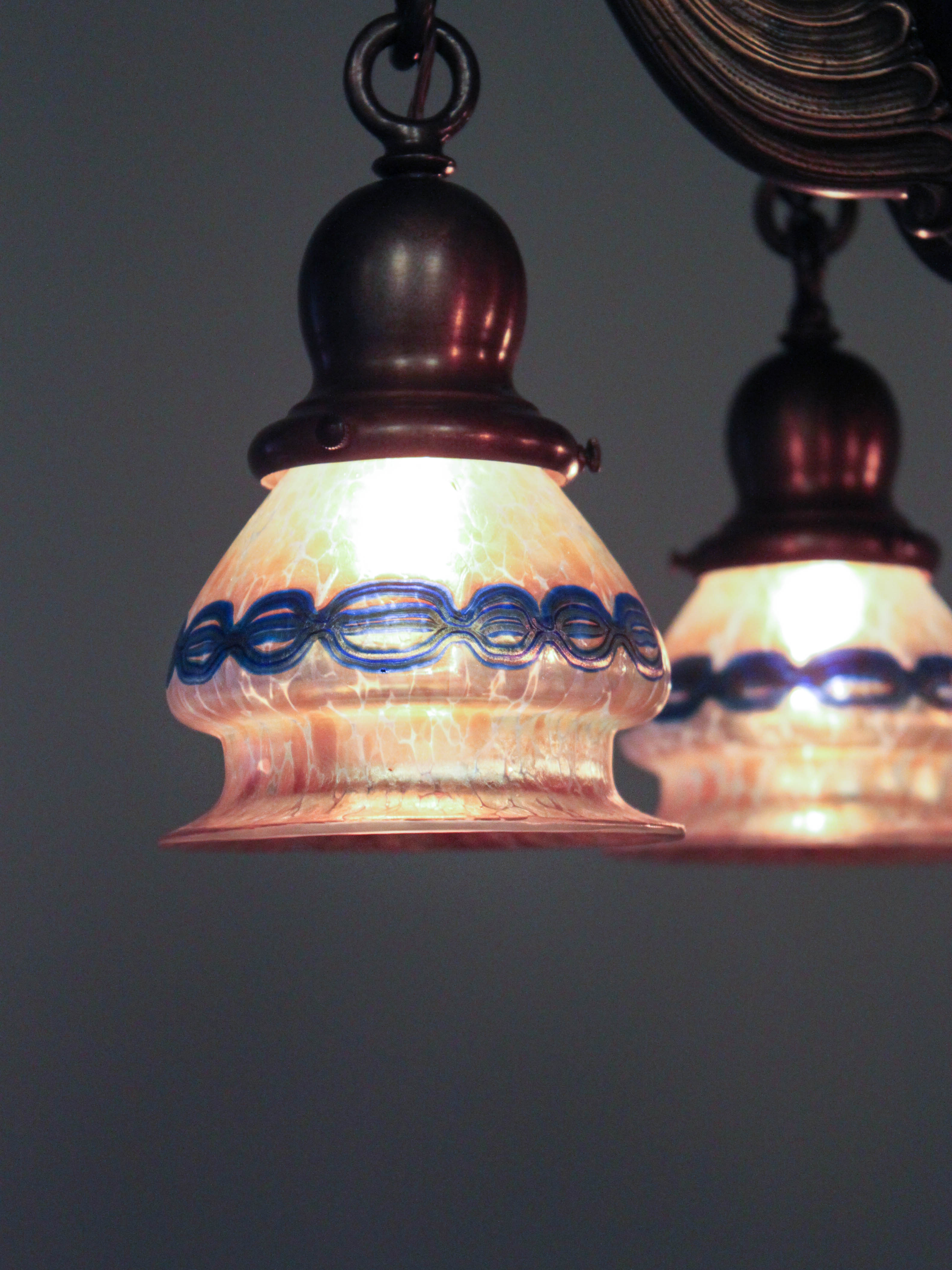 Heavy colonial ball light fixture with lotez art glass 5 light tags art glass aloadofball Image collections