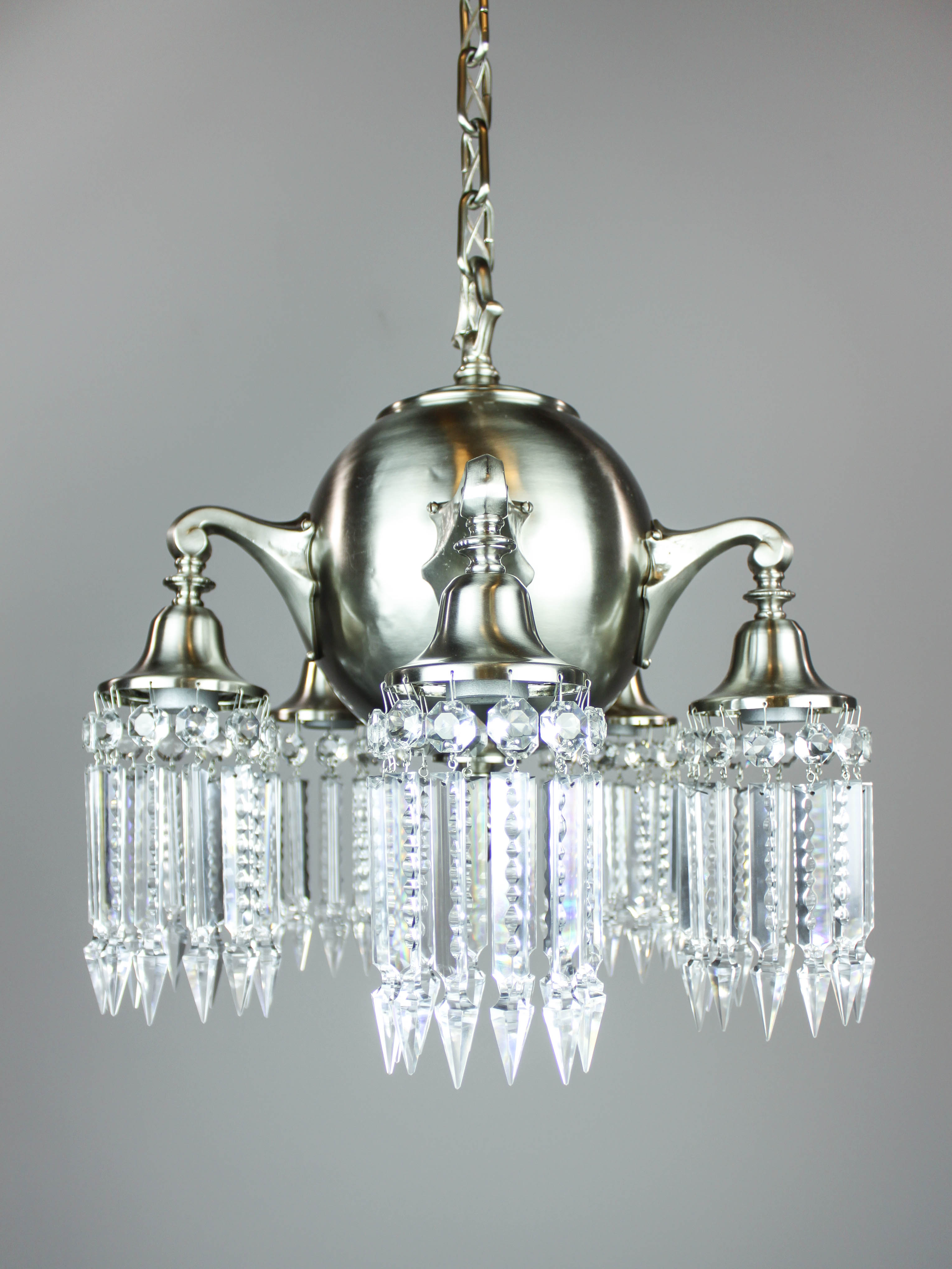 Nickel plated brass crystal light fixture 5 light