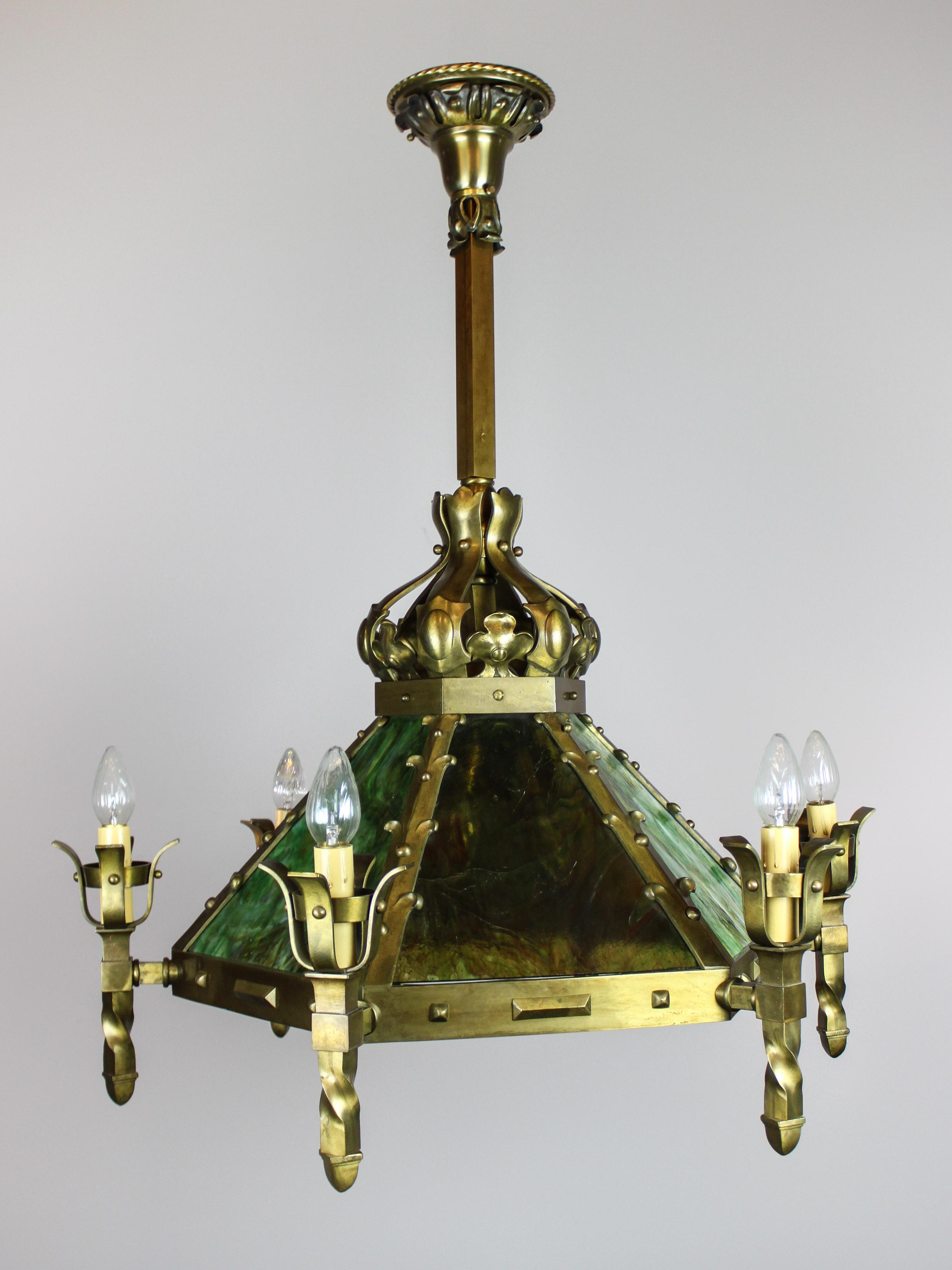 Monumental Mission Slag Glass Light Fixture 12 Light