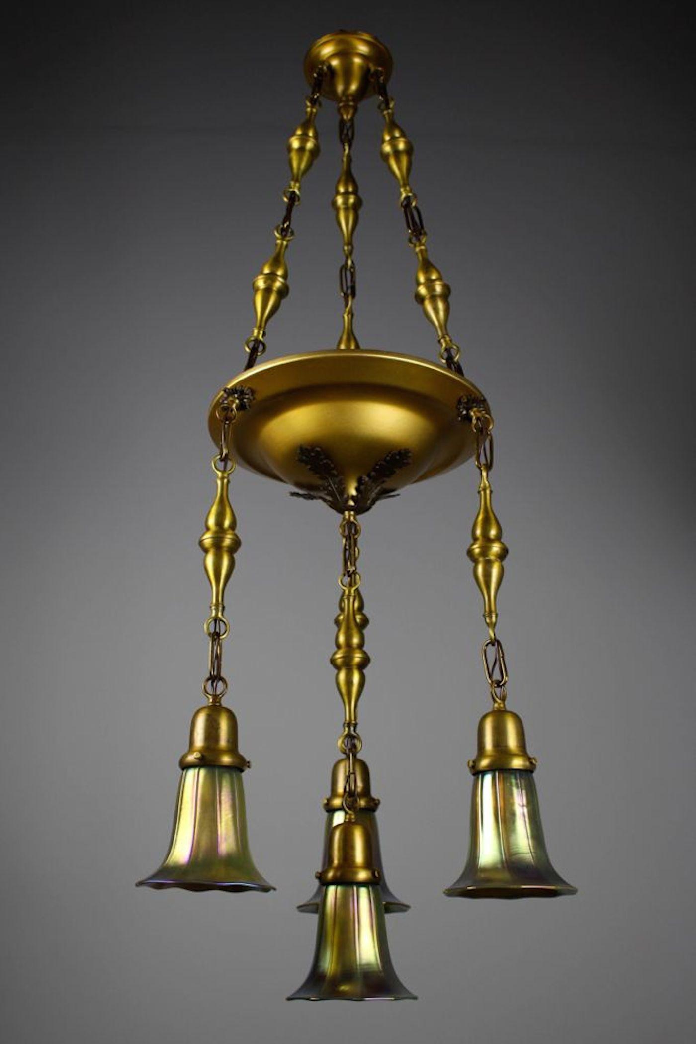 Beardslee Shower Four Light Chandelier With Art Glass