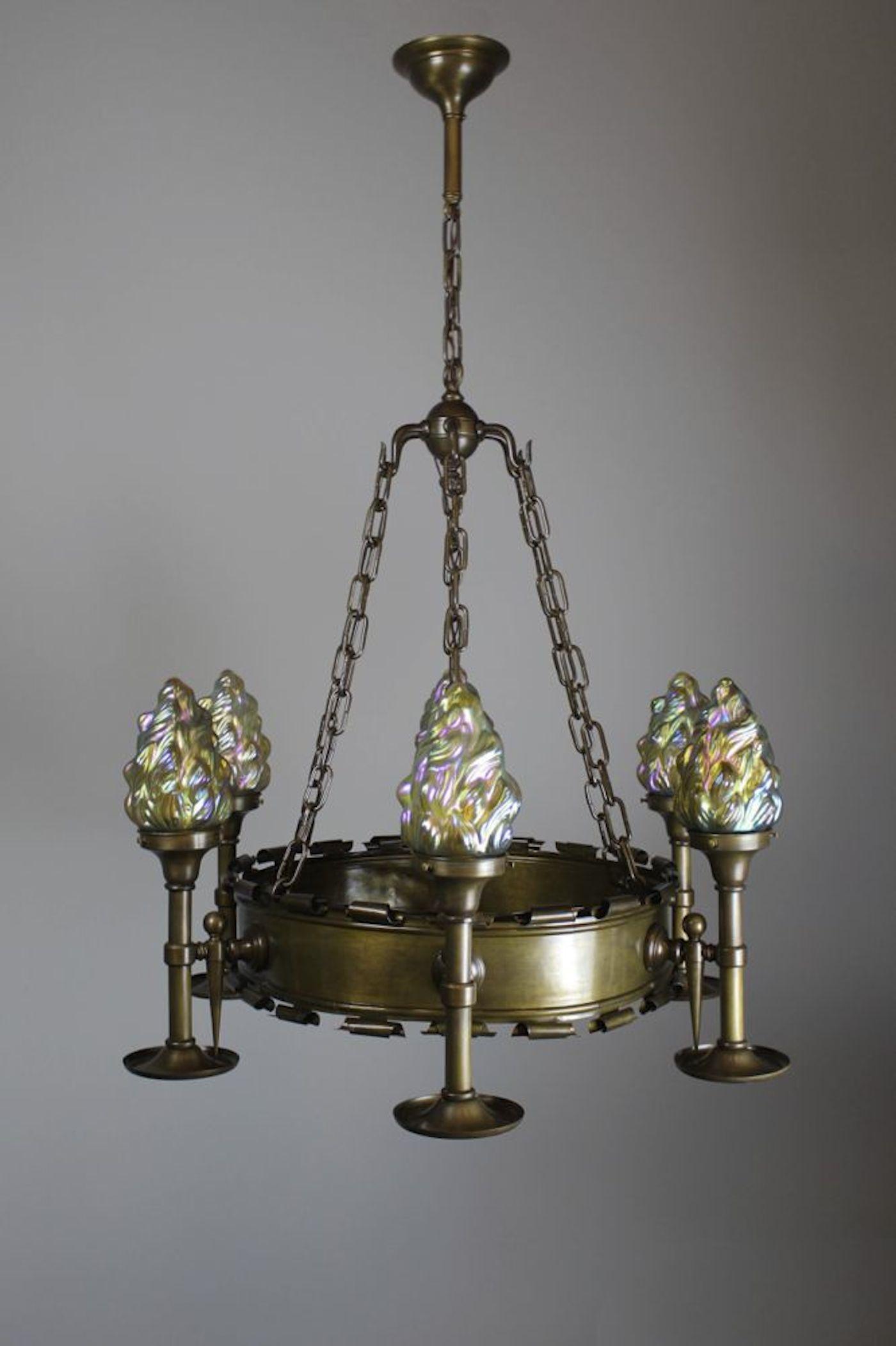 Early Tudor Revival Ring Fixture 6 Light