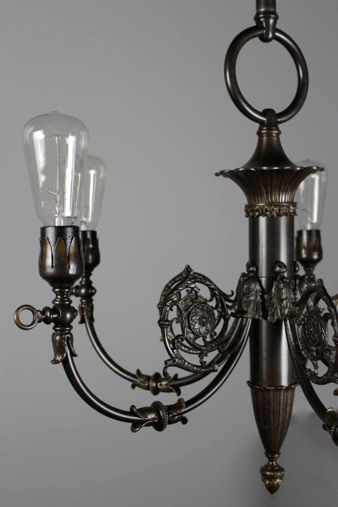 Empire Style Brass Converted Gas Fixture 5 Light