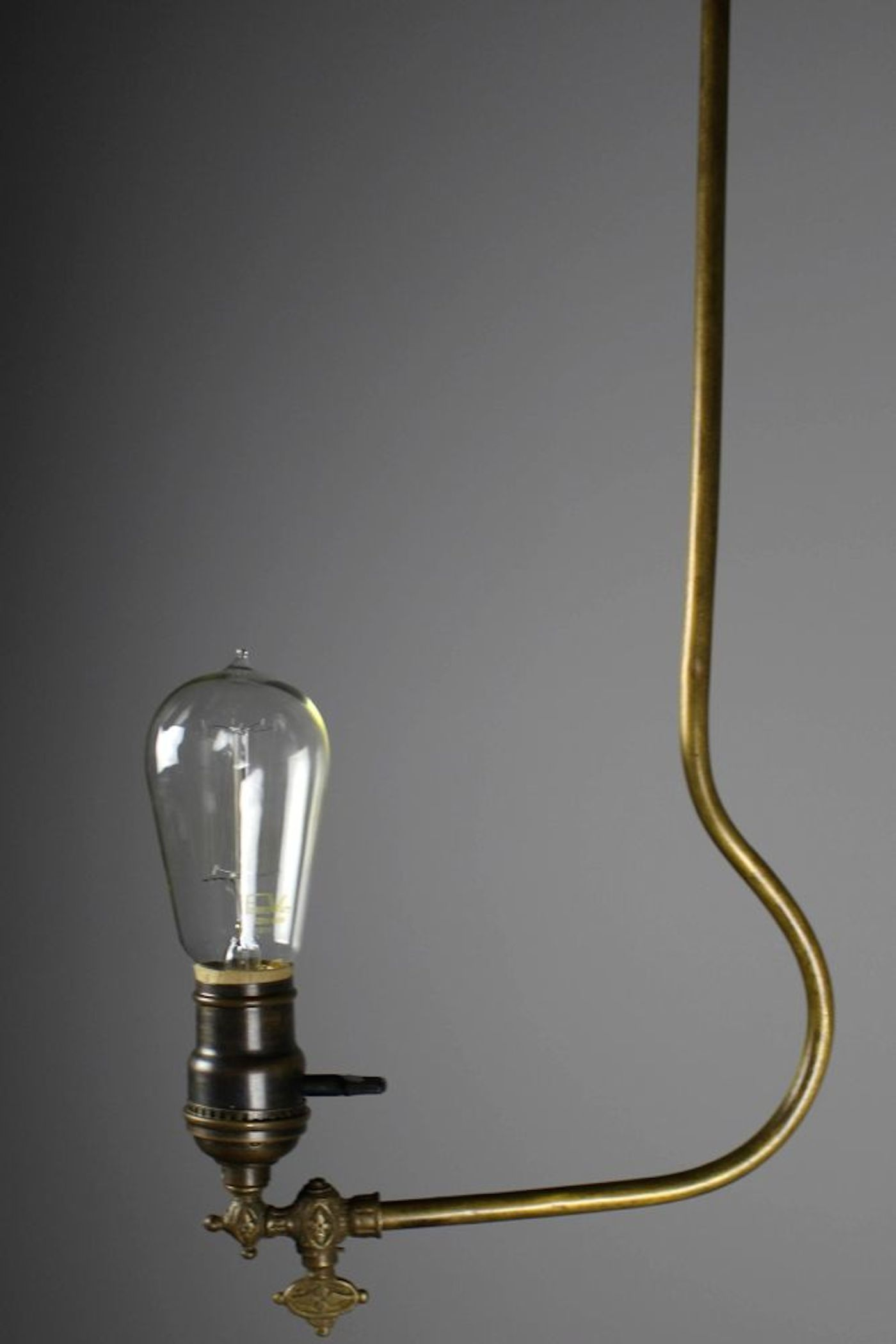 Rare Industrial Converted Gas Electric Pendant
