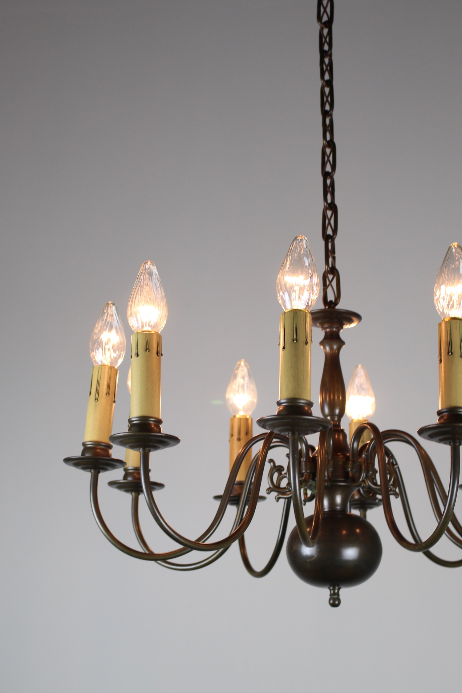 Dutch Colonial Ten Light Fixture Circa 1940s