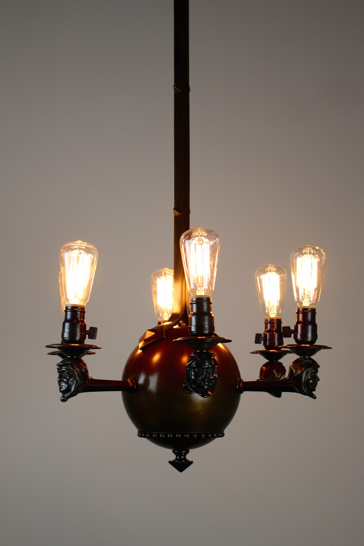 Arts and crafts rare monk face fixture with six lights see more antique ceiling lights arubaitofo Choice Image