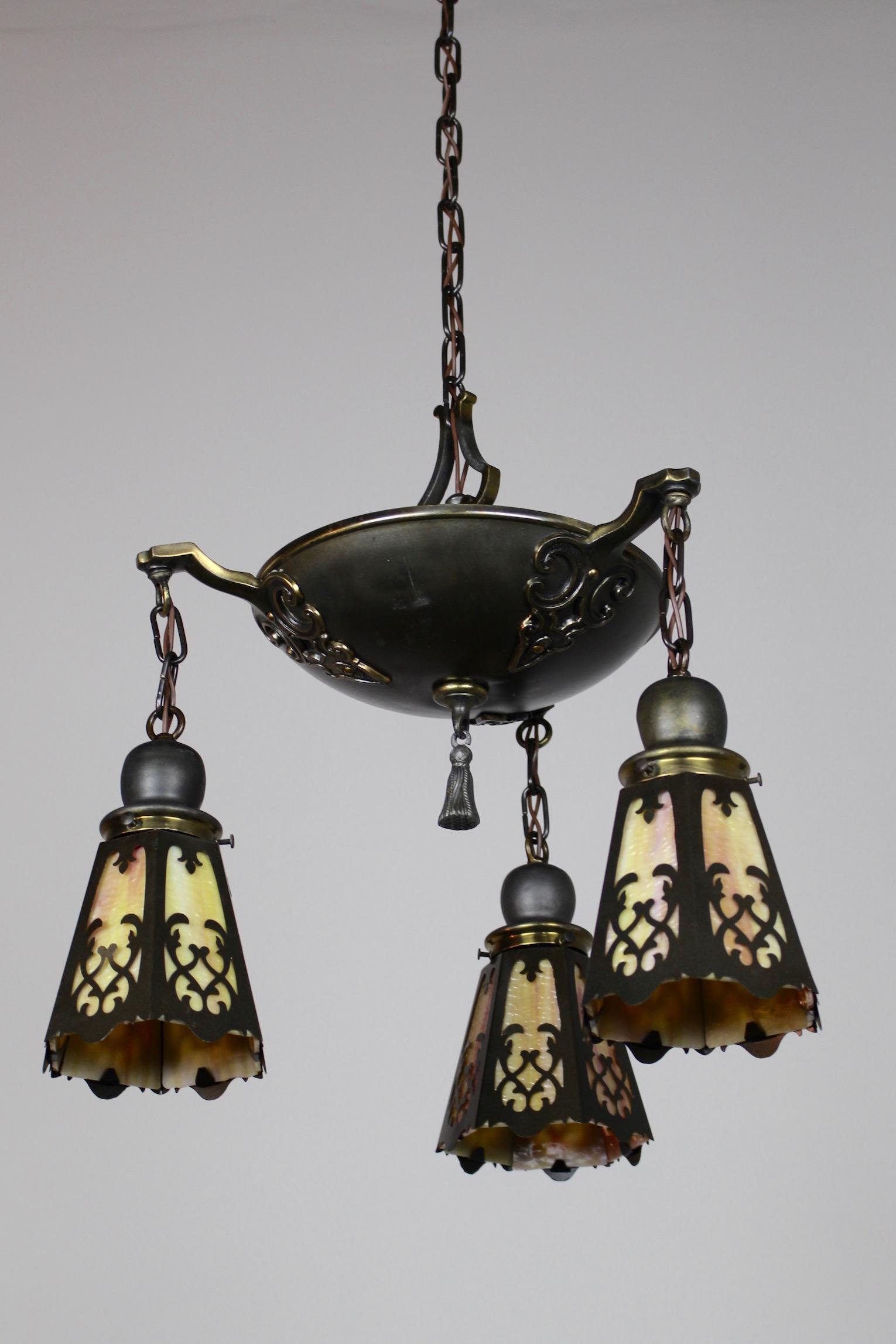Classical Revival Tudor Pan Fixture Circa 1920 3 Light