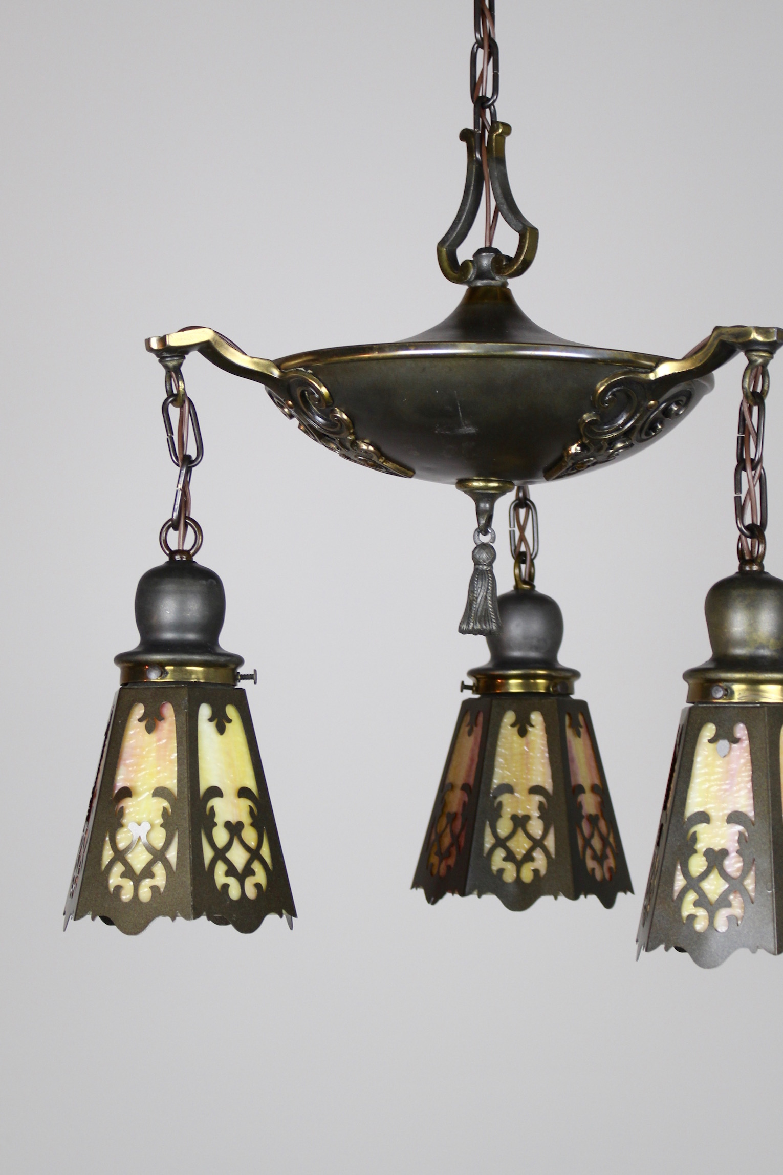 Classical Revival Tudor Pan Fixture Circa 1920 3 Light