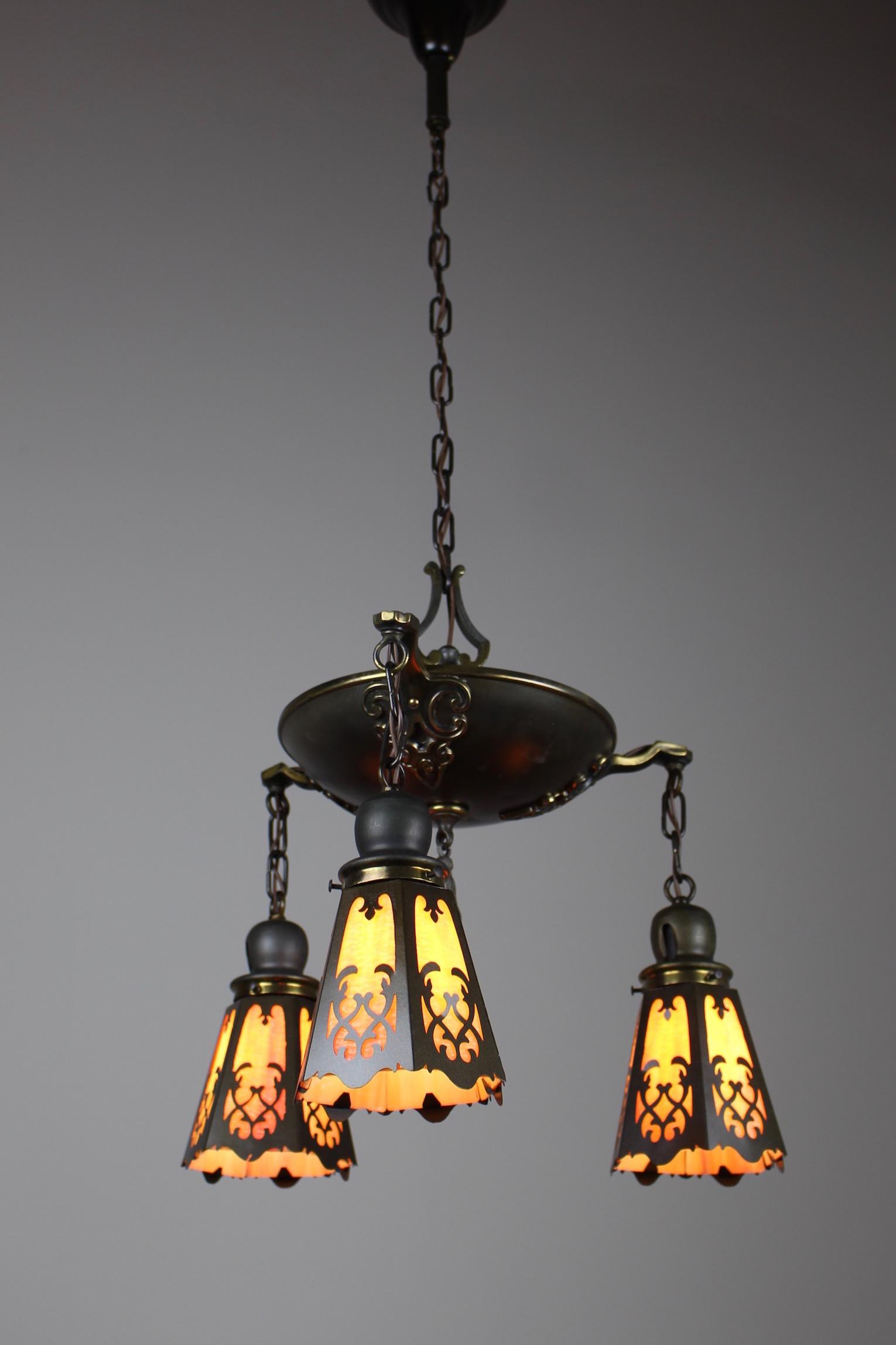 classical revival tudor pan fixture circa 1920 3light