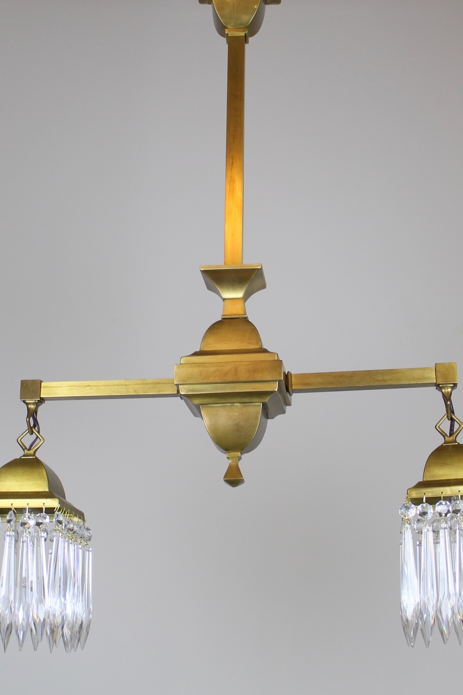 Mission style crystal fixture circa 1910 satin brass 2 light tags crystal mission see more antique ceiling lights aloadofball Gallery