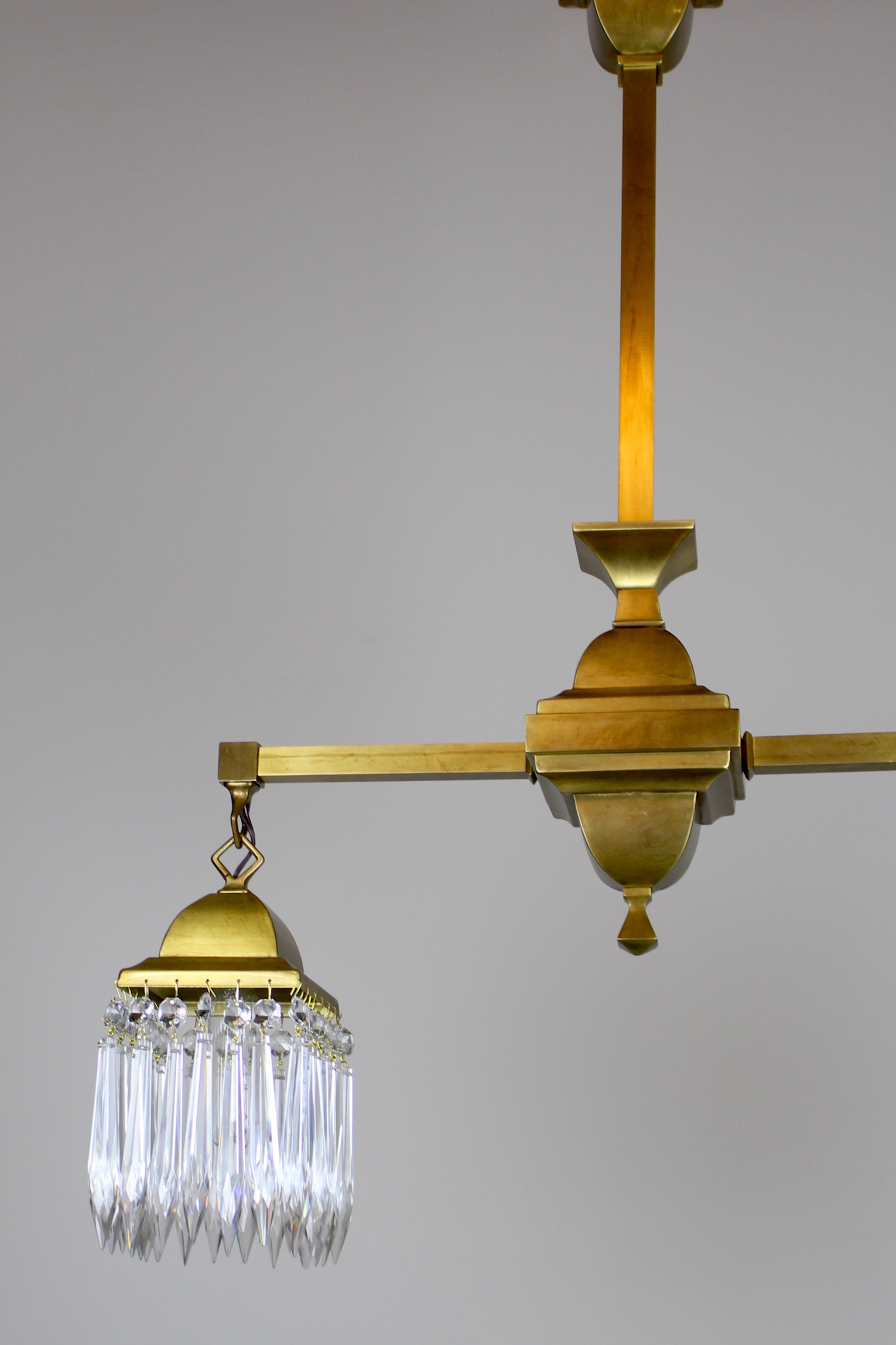 Mission Style Crystal Fixture Circa 1910 Satin Brass 2