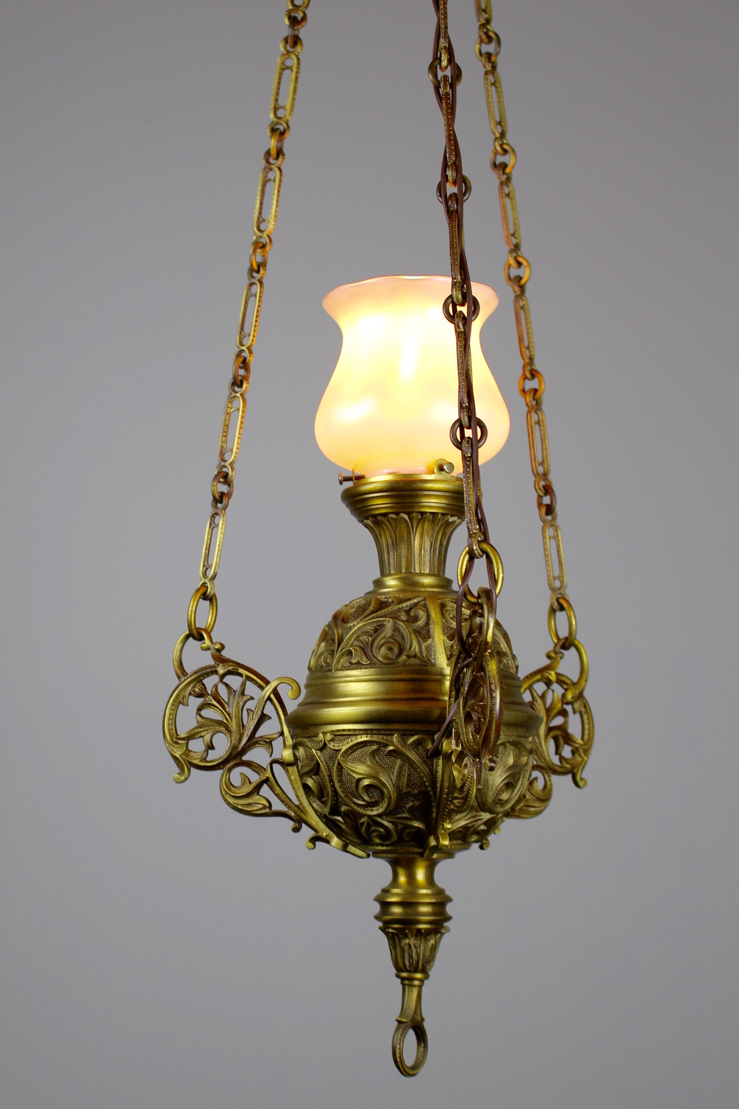 Cast brass sanctuary fixture with art glass quezal shade tags art glass sanctuary light aloadofball Images