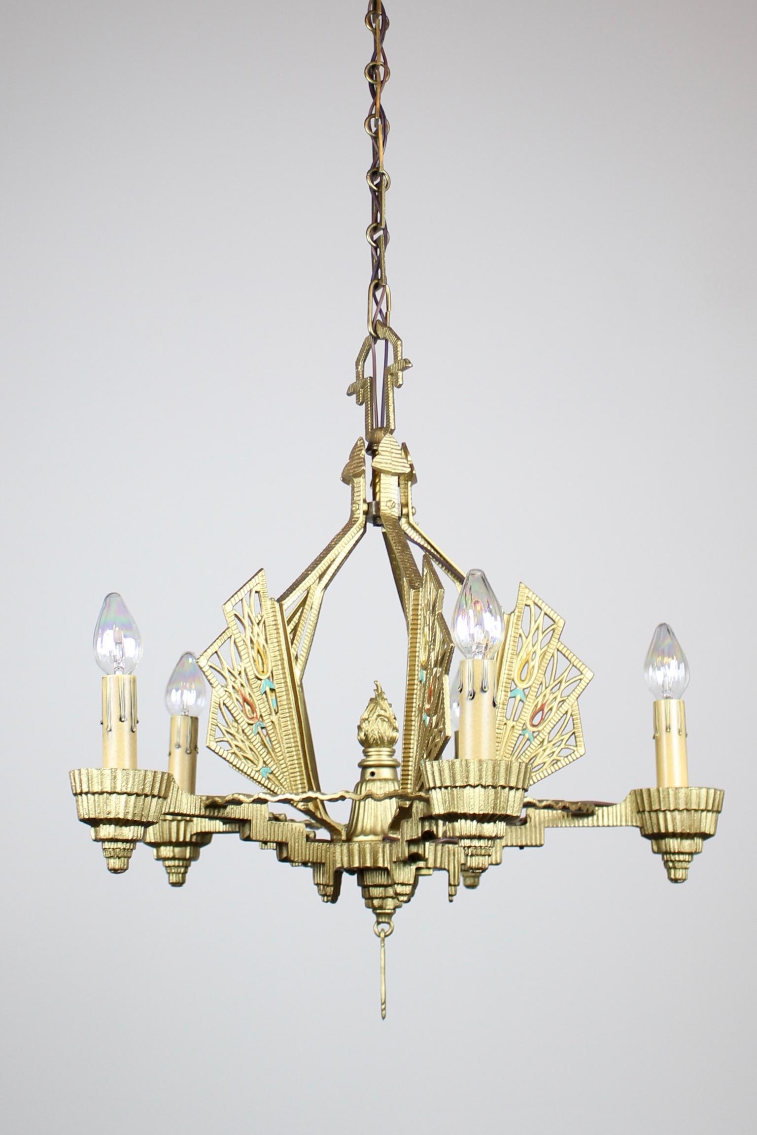 Art Deco Fixture With Polychrome Finish 5 Light