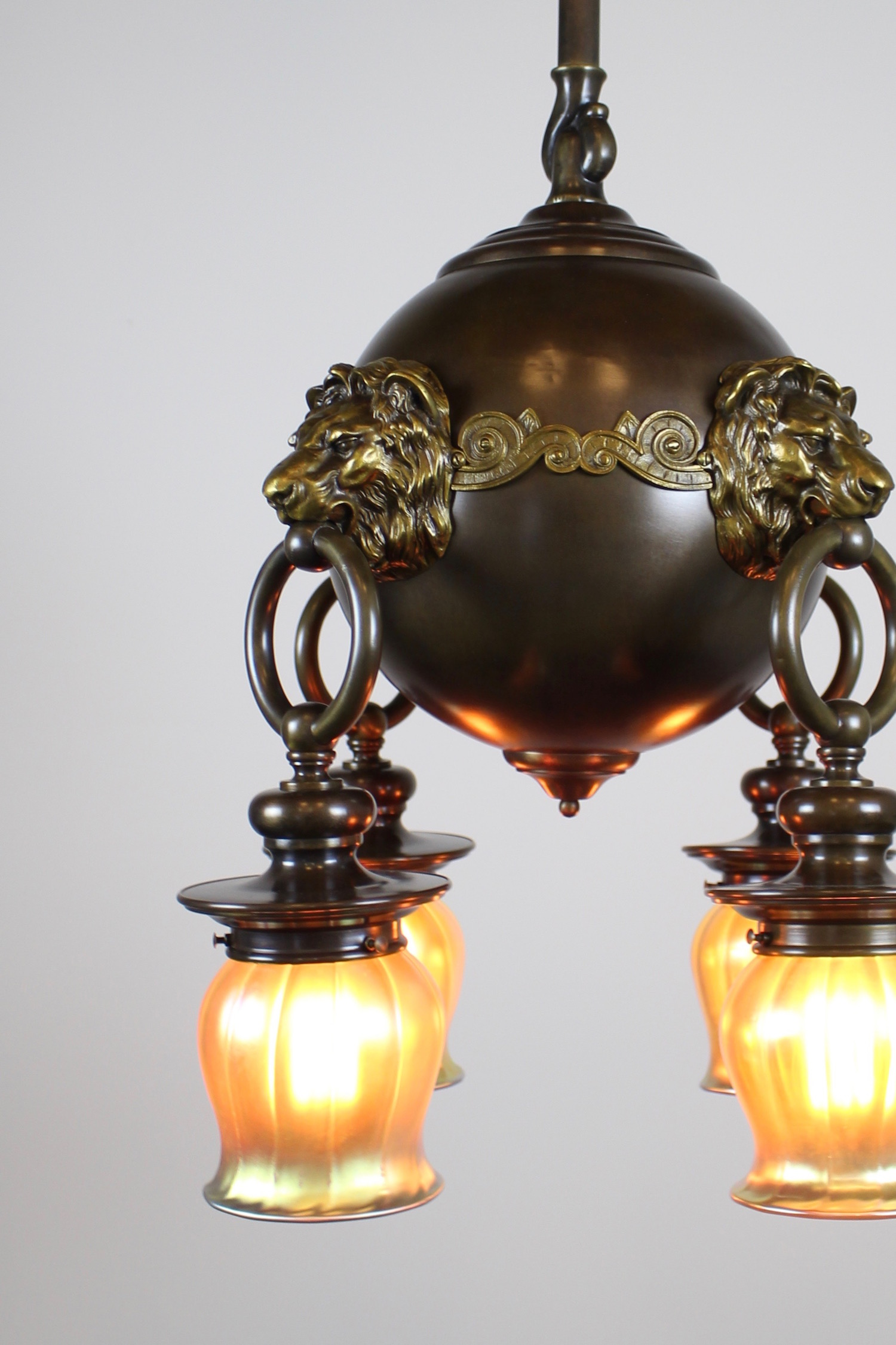 Classic Revival Lion Light Fixture