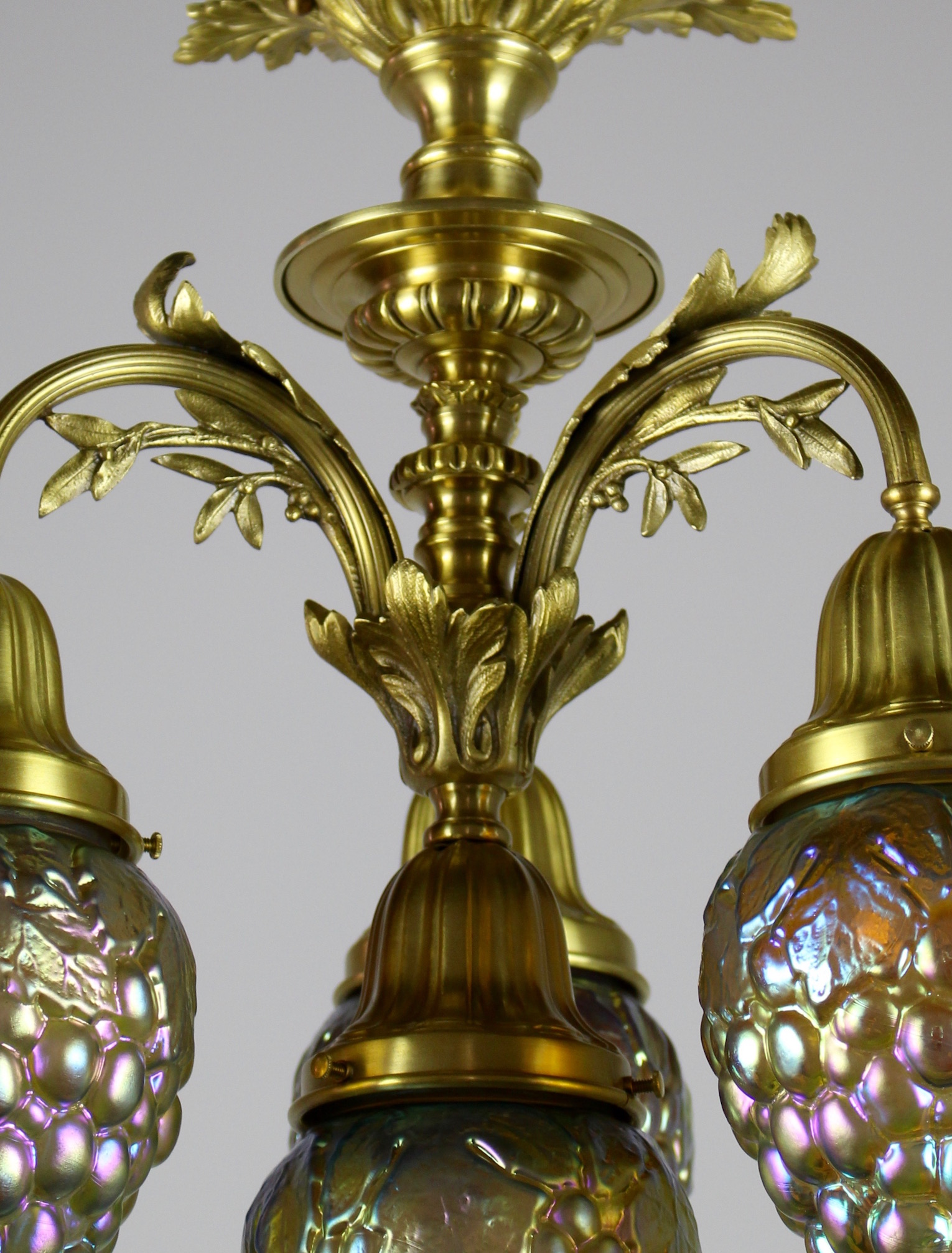 Rococo Revival Flush Mount With Art Glass Shades