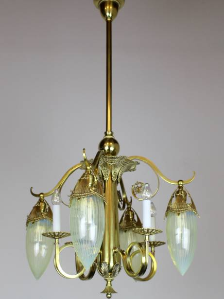 CH1059 Victorian Gas Electric with Striped Opalecent Art Glass Shades